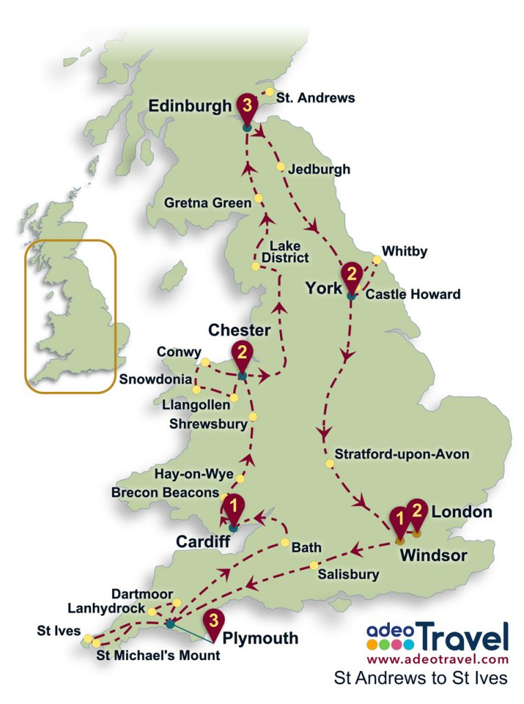 St Andrews to St Ives Coach Tour Map