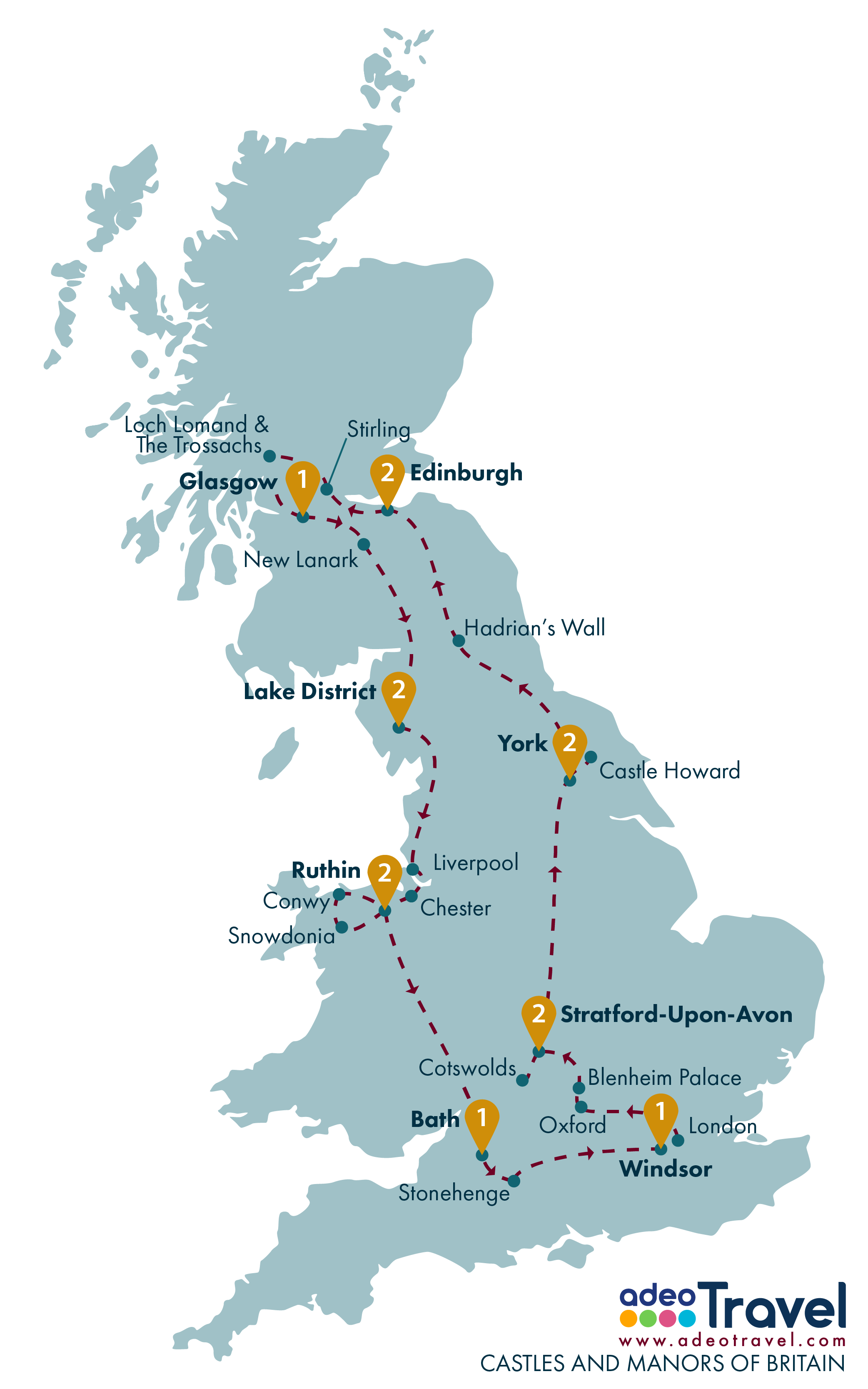 Tour Map - Castles and Manors of Britain