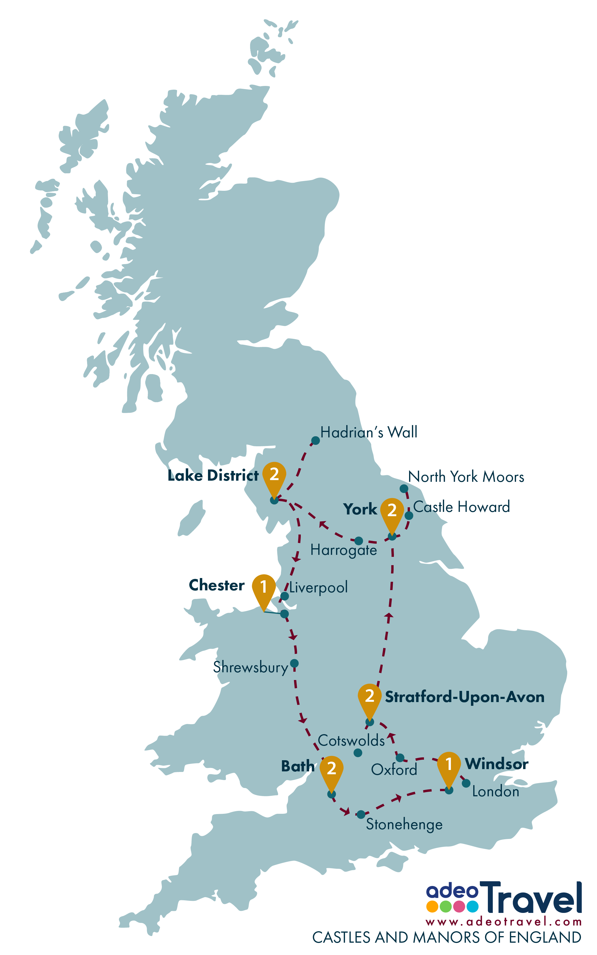 Tour Map - Castles and Manors of England
