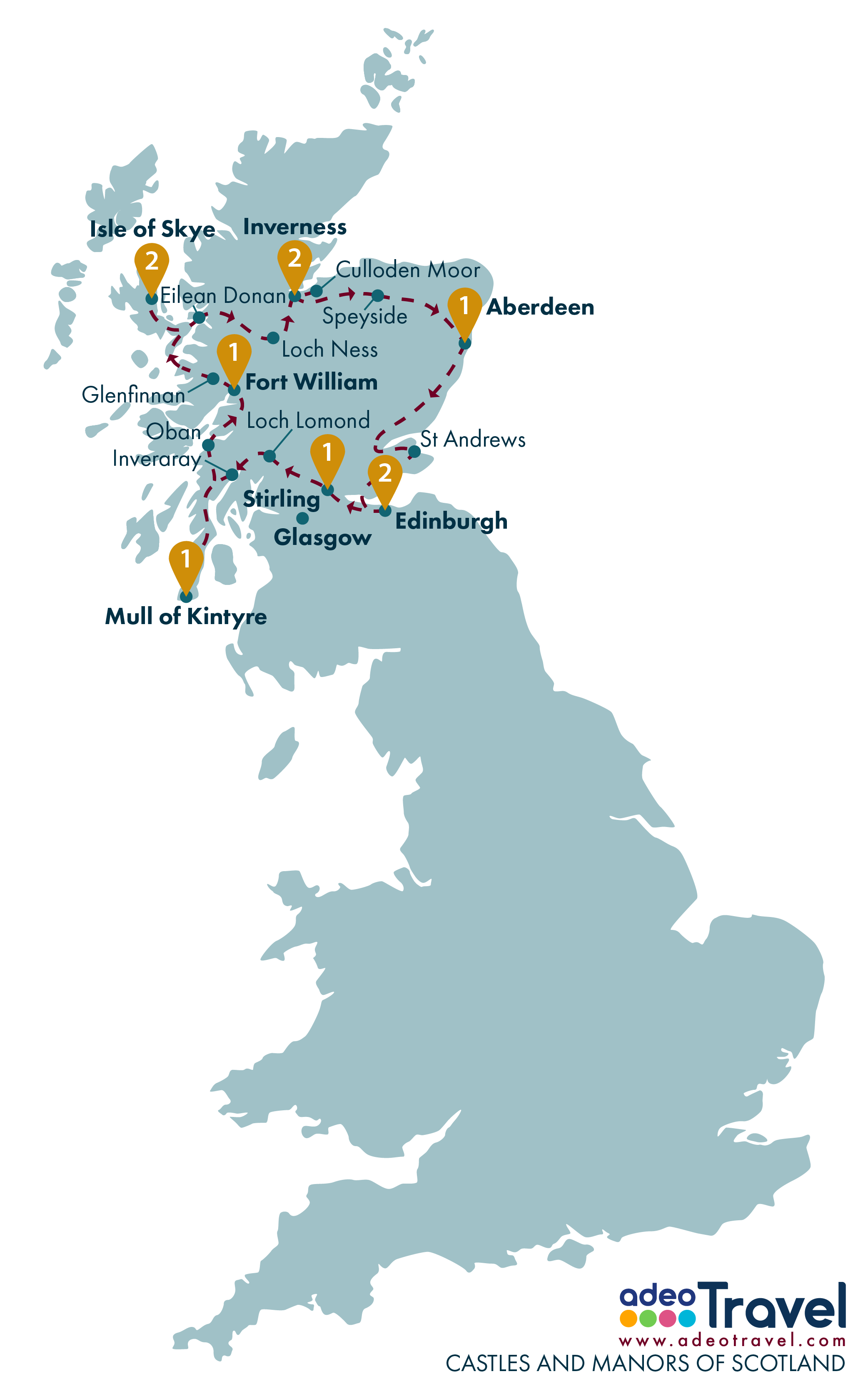 Tour Map - Castles and Manors of Scotland