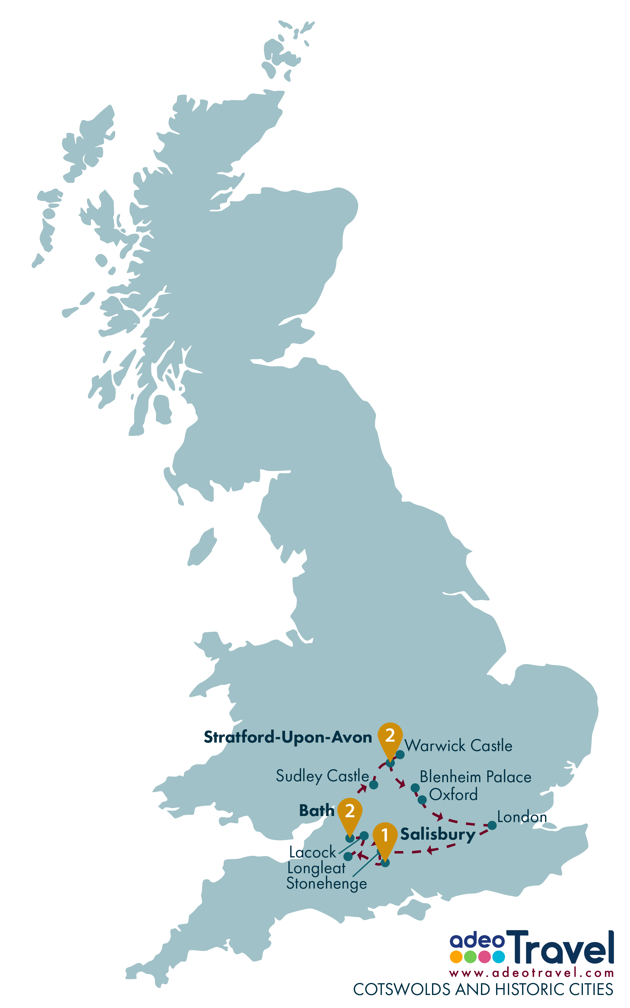 Tour Map - Cotswolds and Historic Cities