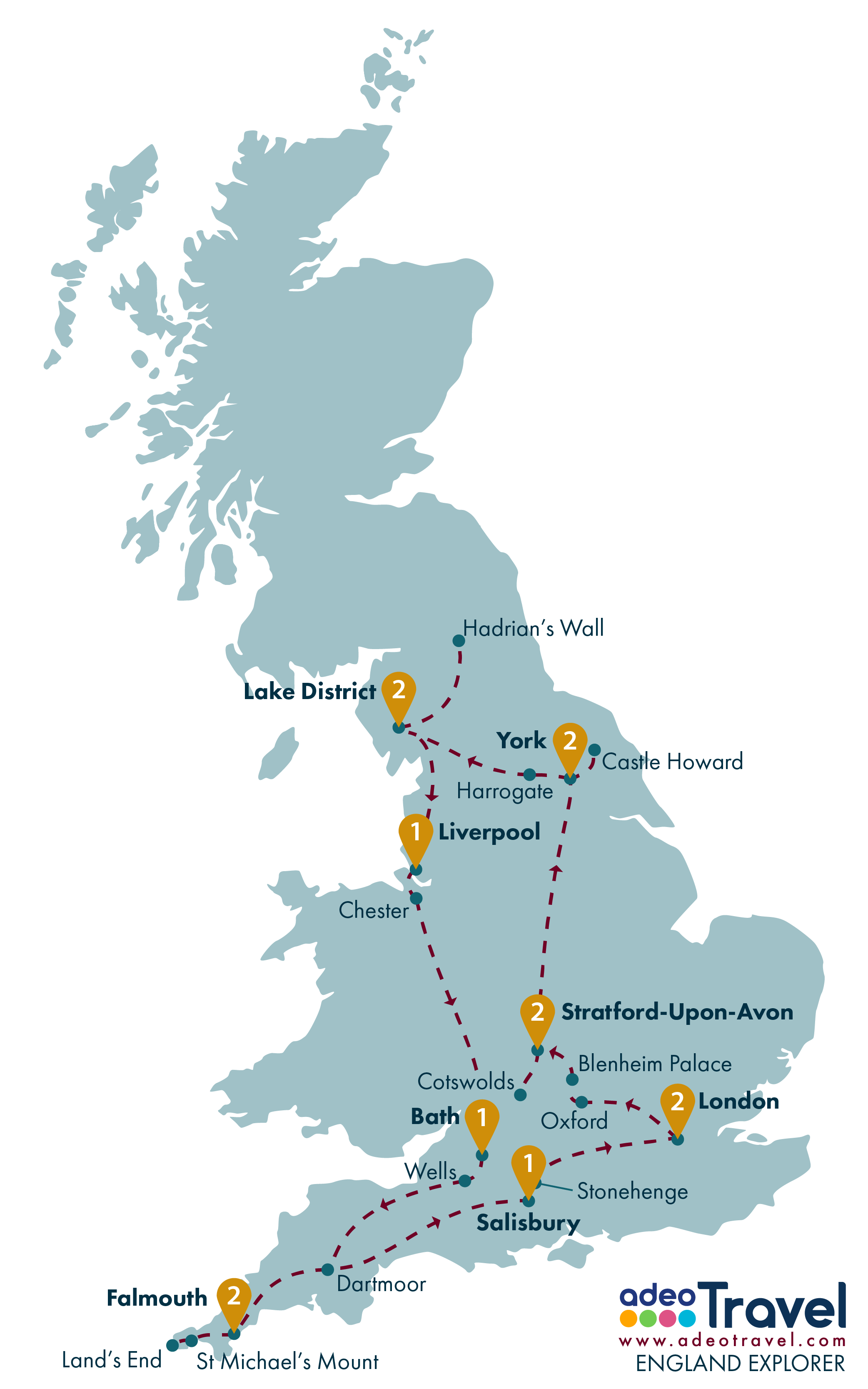 Tour Map - England Explorer