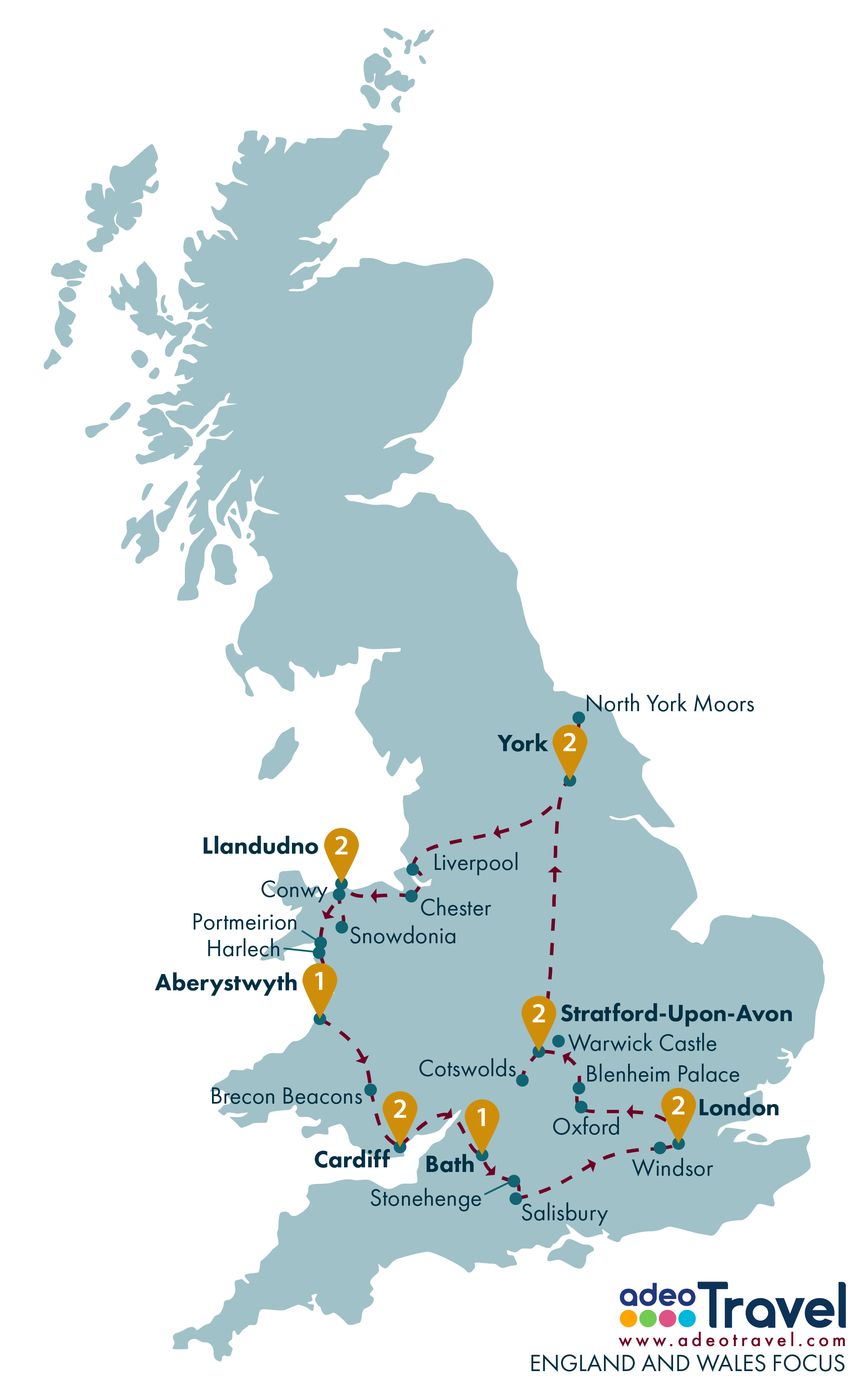 Map Of England And Wales.England And Wales Focus Adeo Travel England And Wales Driving Tour
