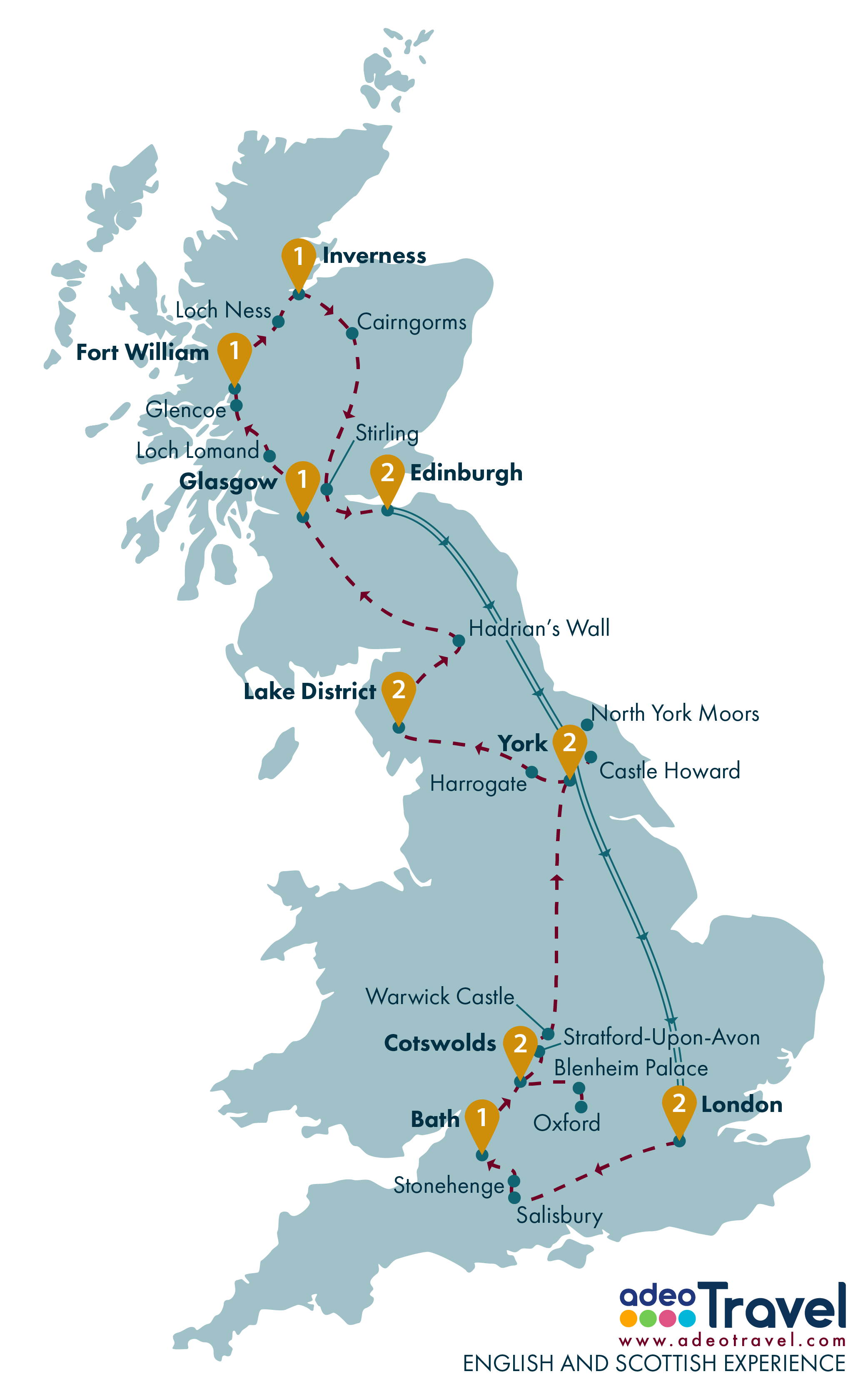 Tour Map - English and Scottish Experience