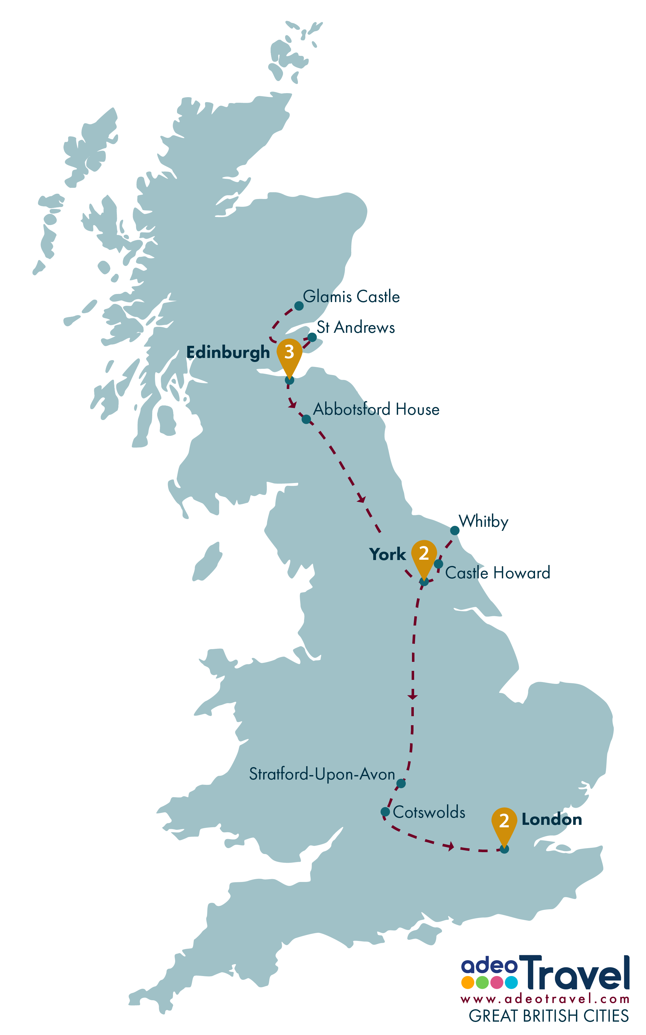 Map Of England Showing Cities.Great British Cities Adeo Travel Escorted Tour Of Scotland And
