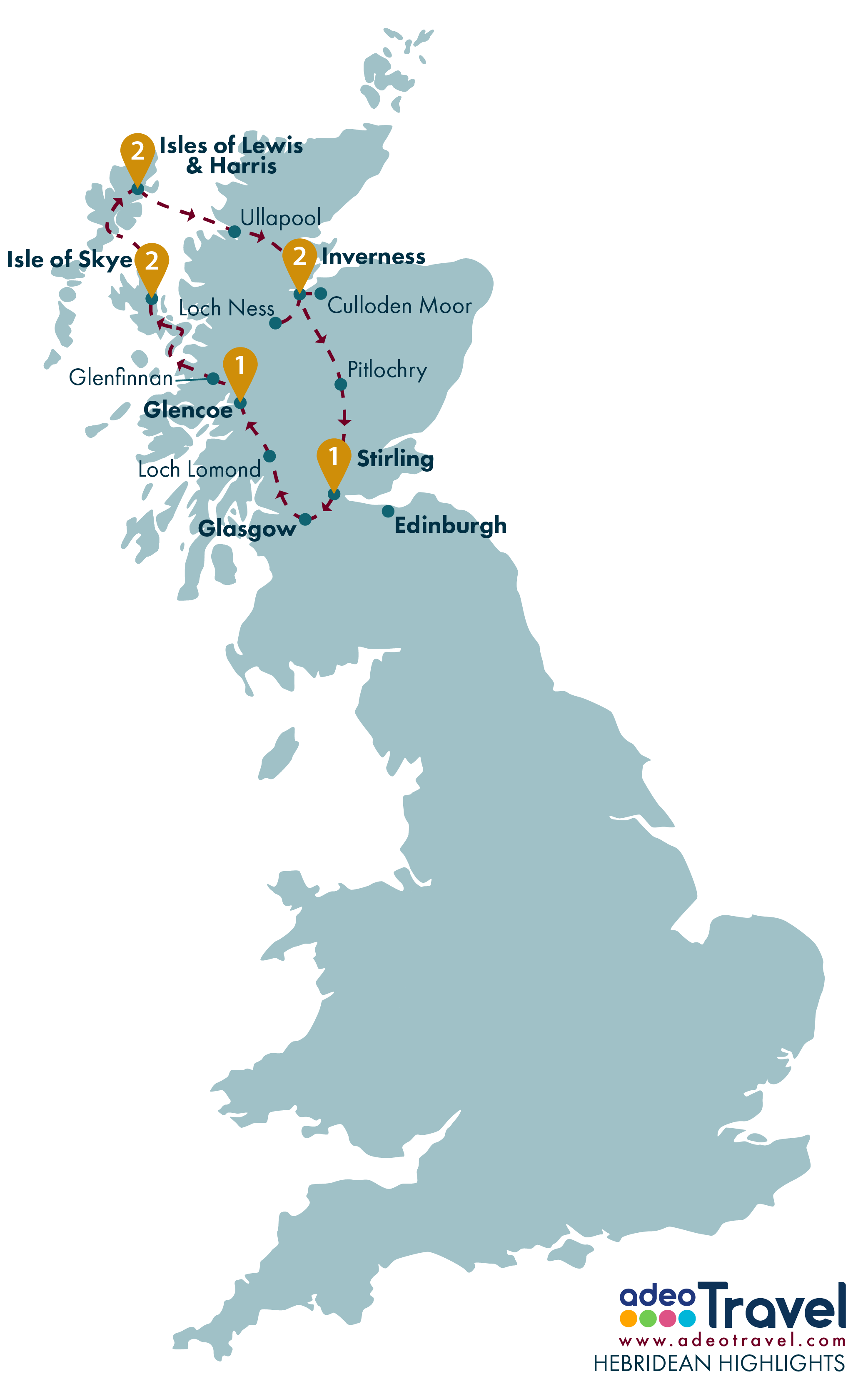 Tour Map - Hebridean Highlights
