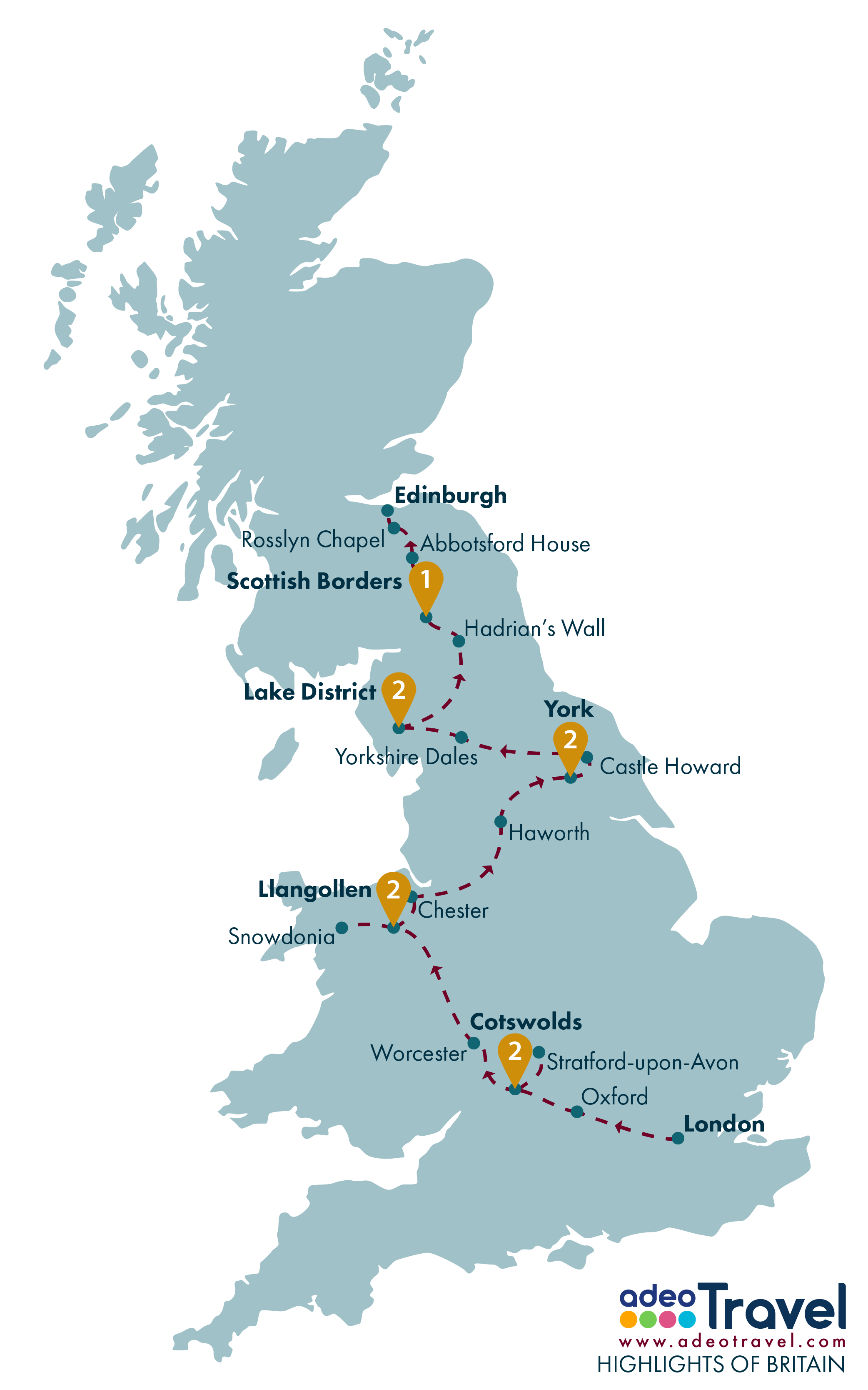 Tour Map - Highlights of Britain