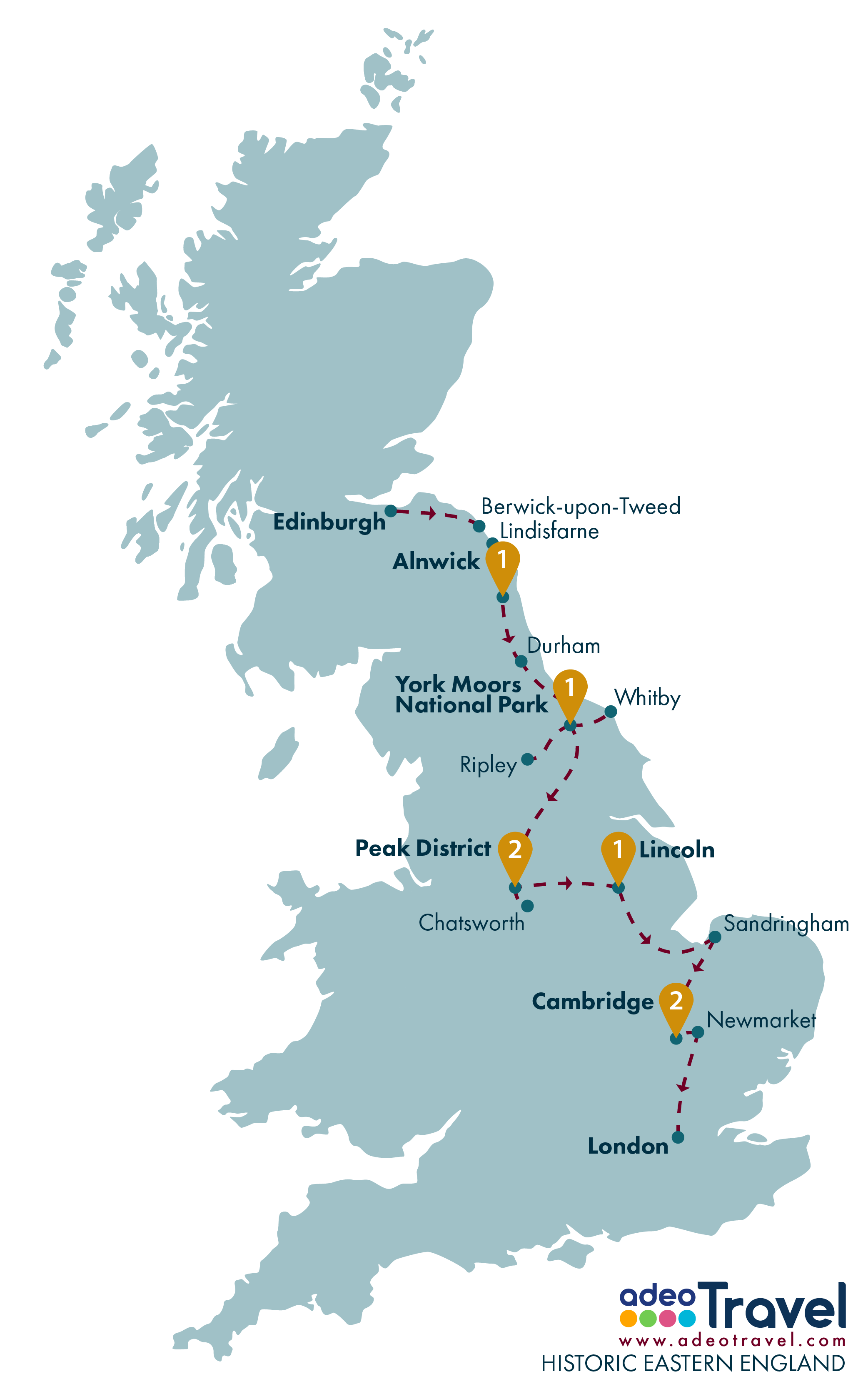Tour Map - Historic Eastern England