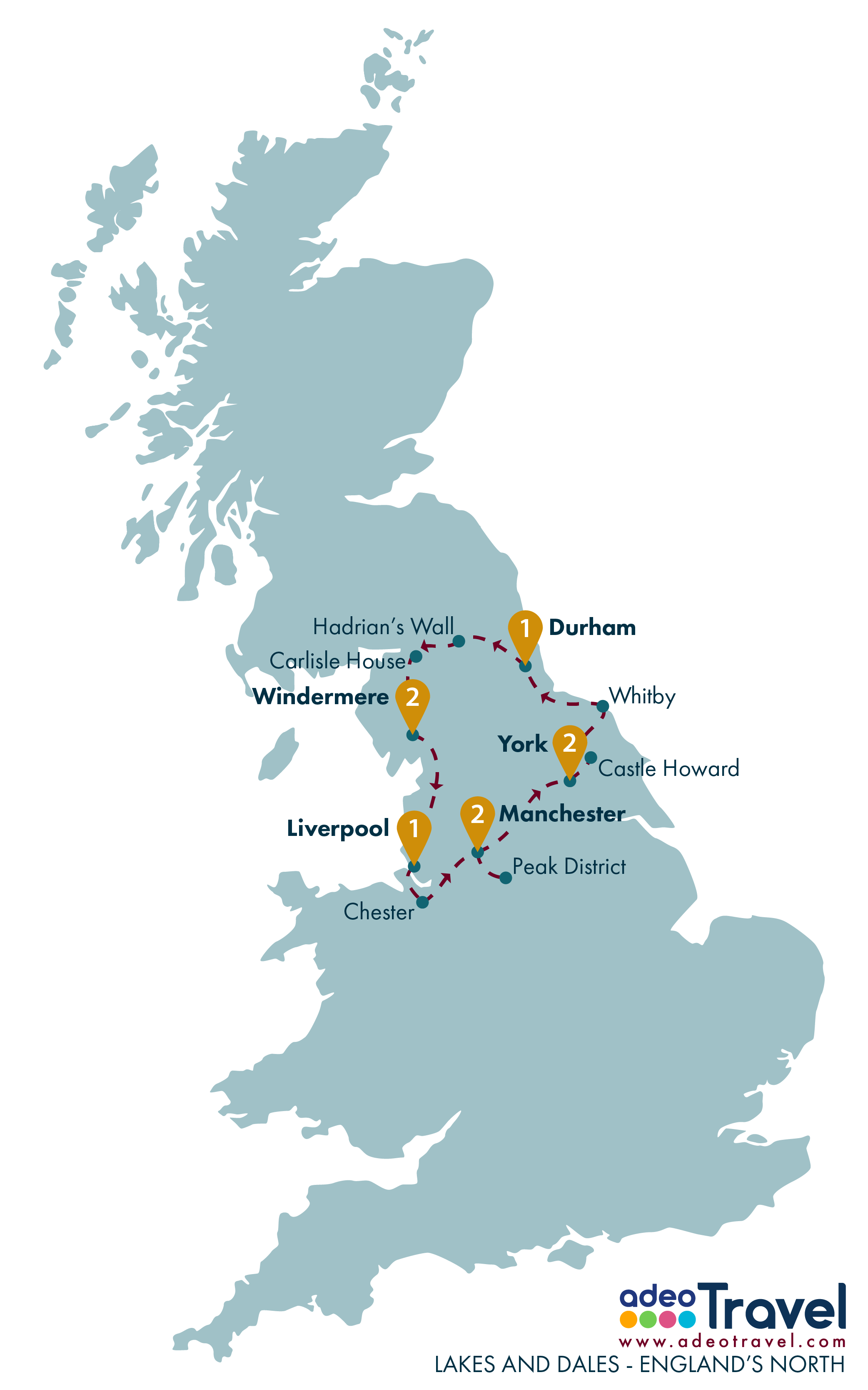 Tour Map - Lakes and Dales - Englands North