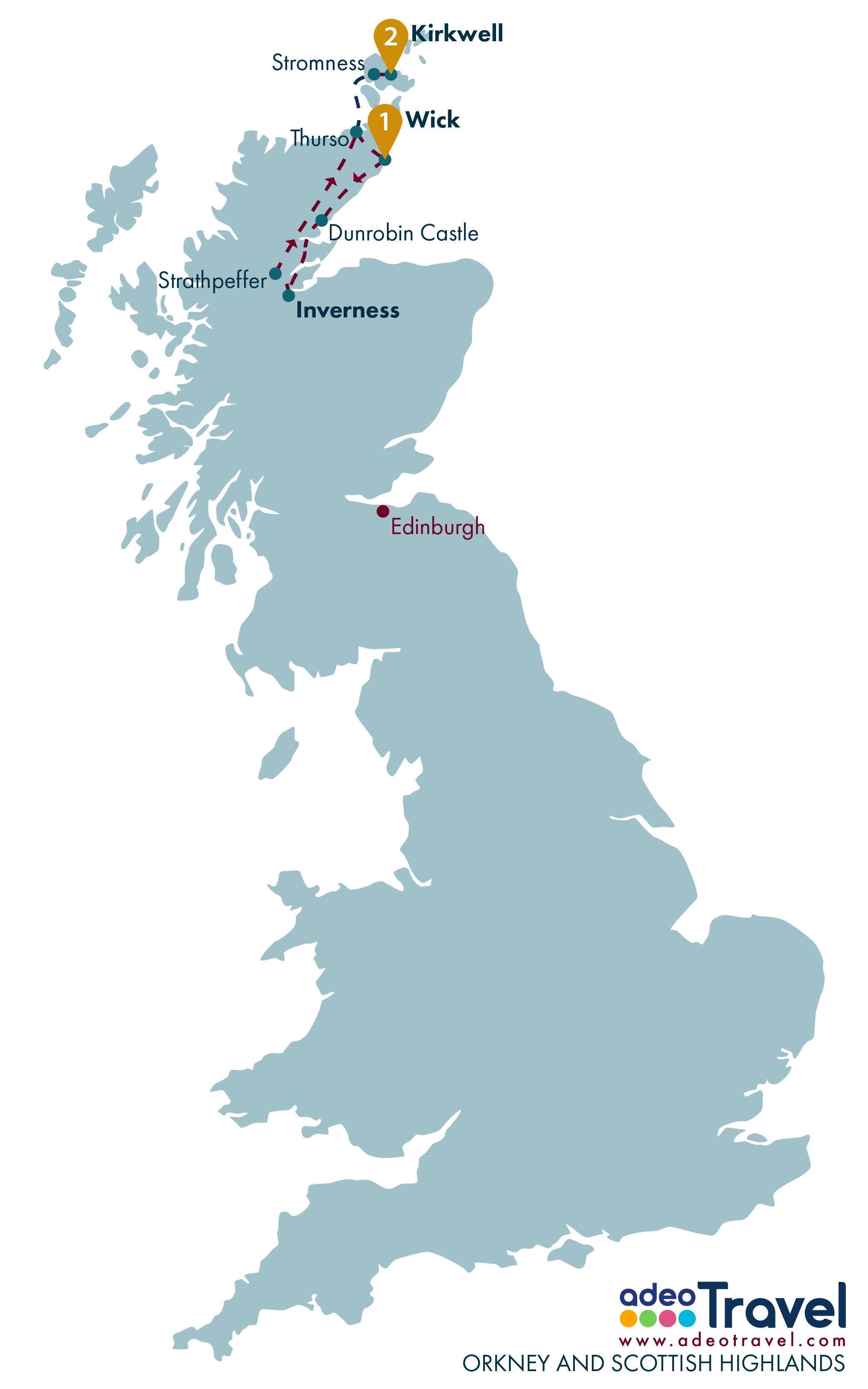 Tour Map - Orkneys and Scottish Highlands