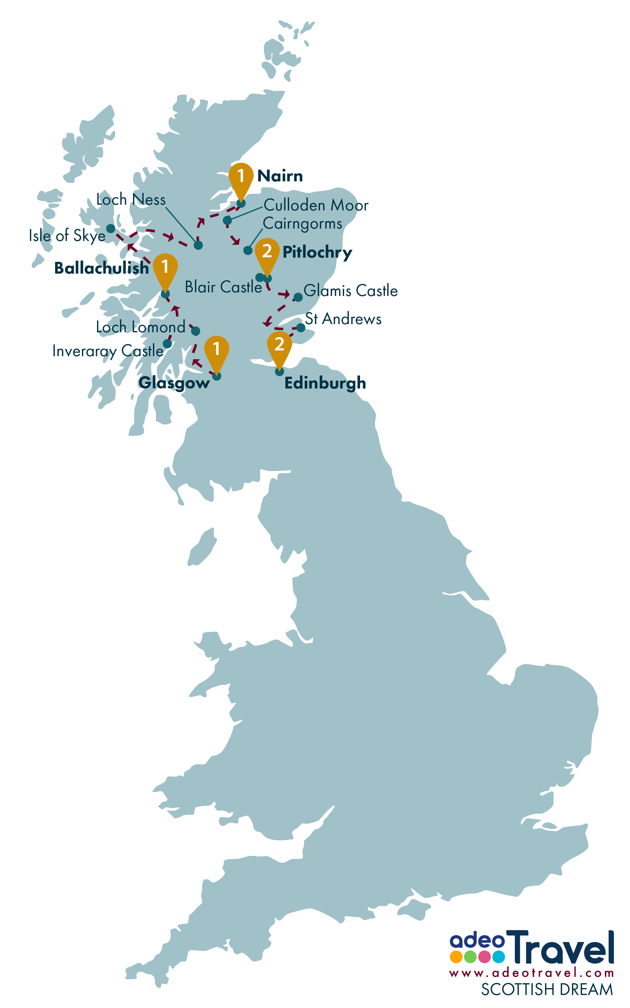 Tour Map - Scottish Dream