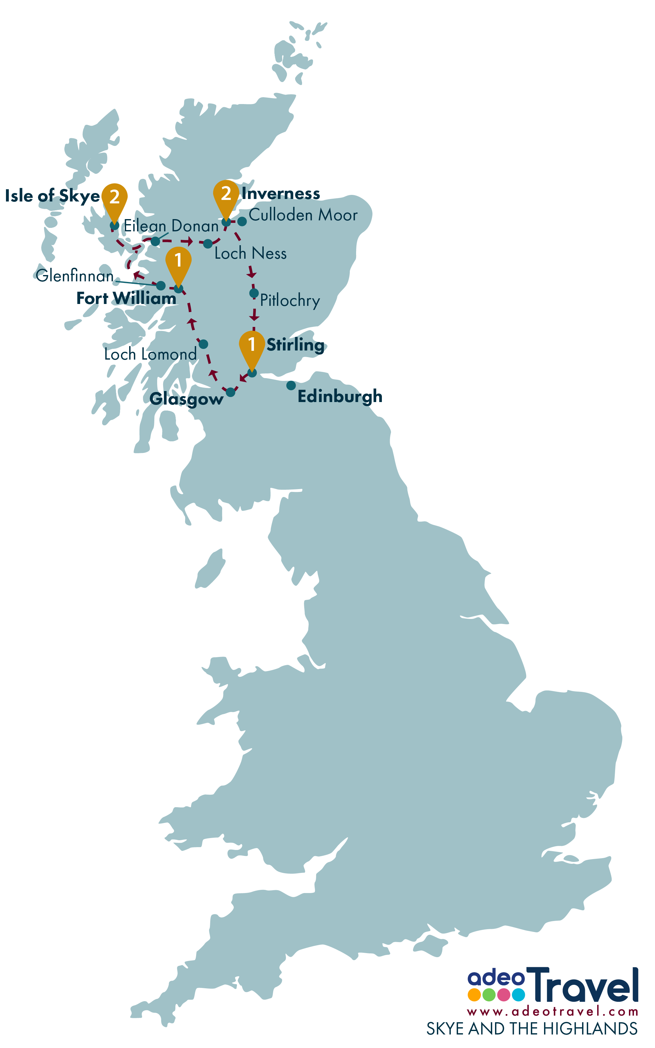 Tour Map - Skye and the Higlands