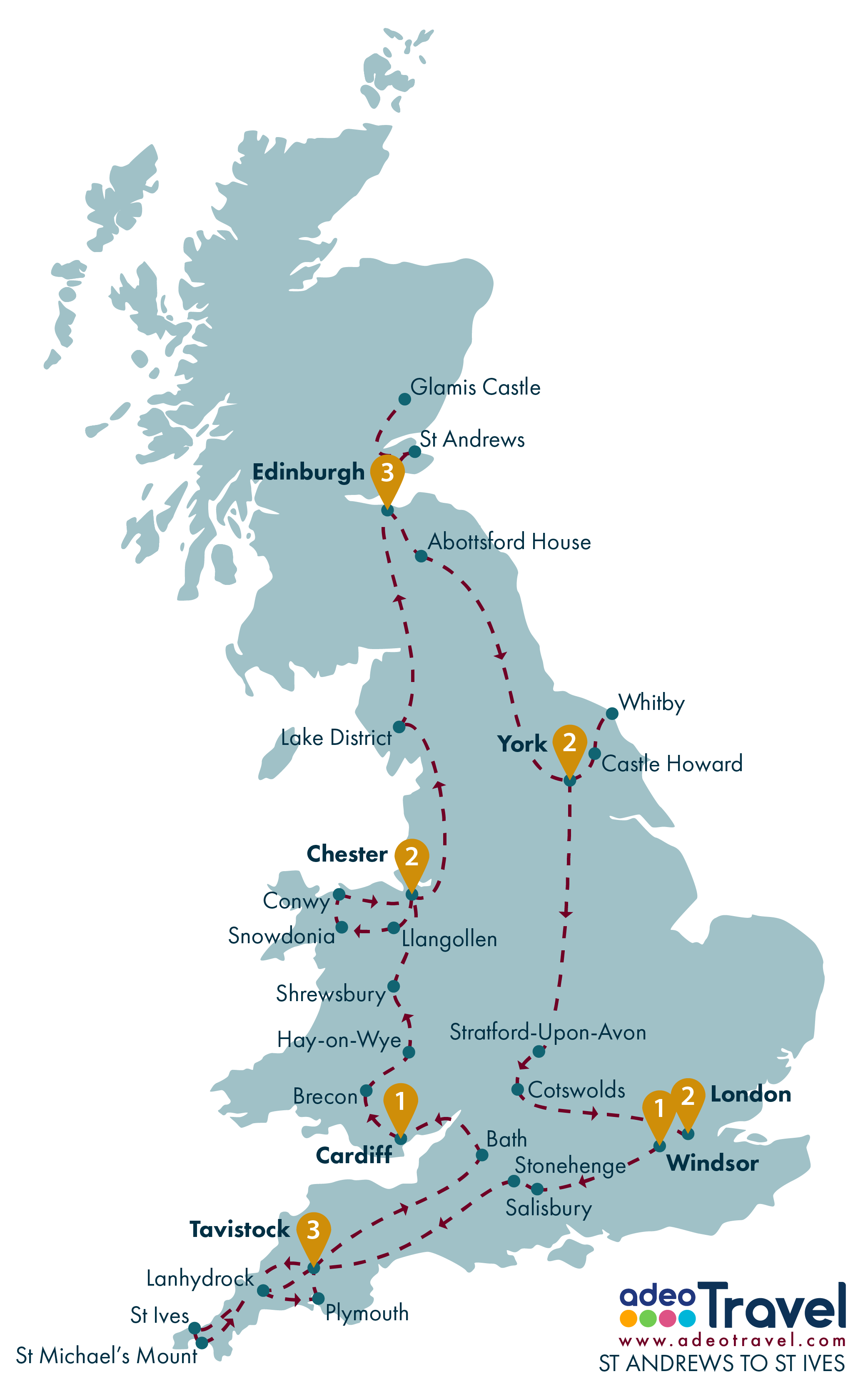 Tour Map - St Andrews to St Ives