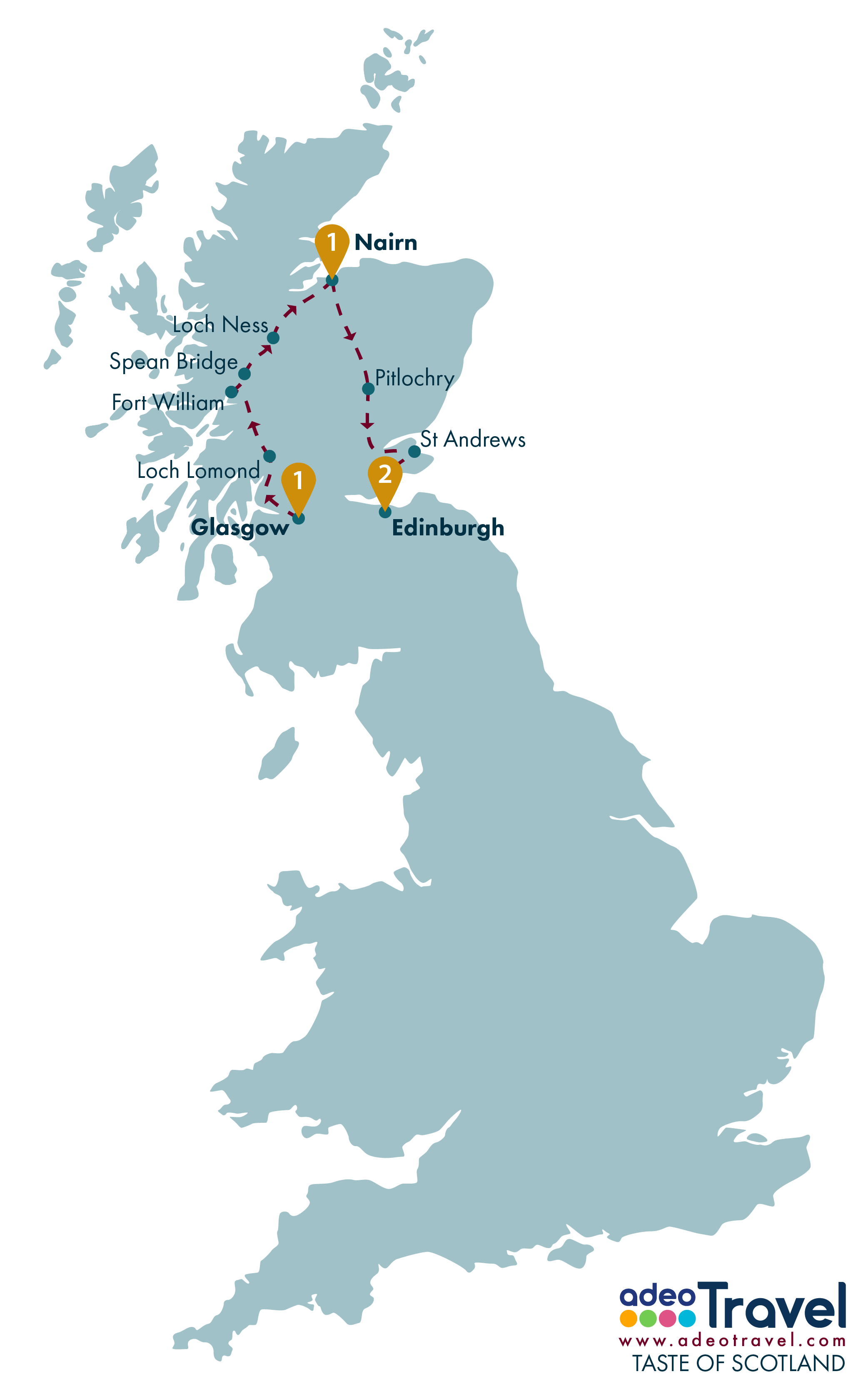 Tour Map - Taste of Scotland