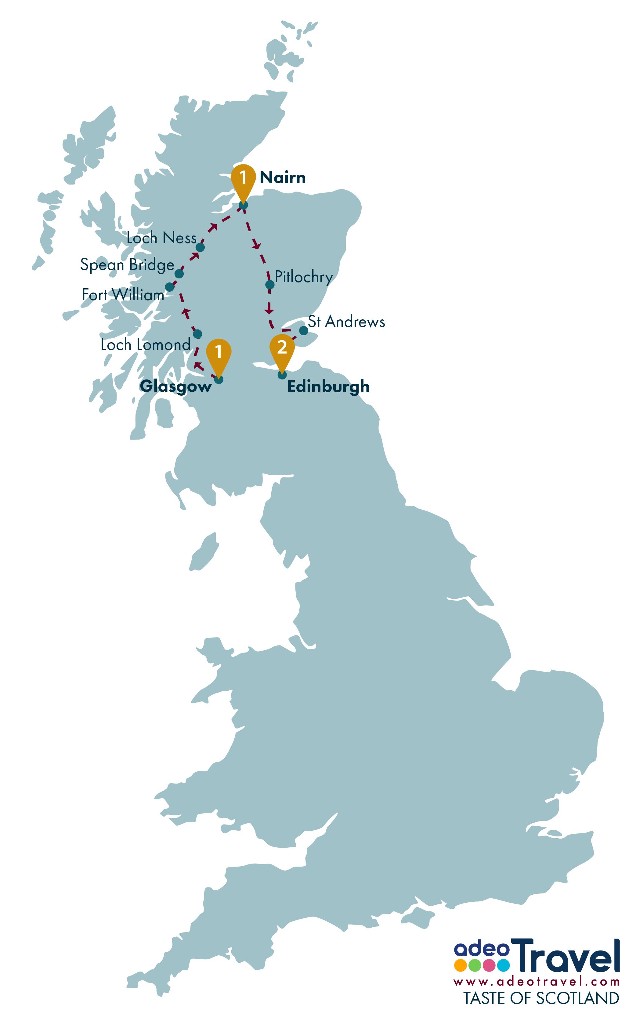 Tour Map - Taste of Scotland