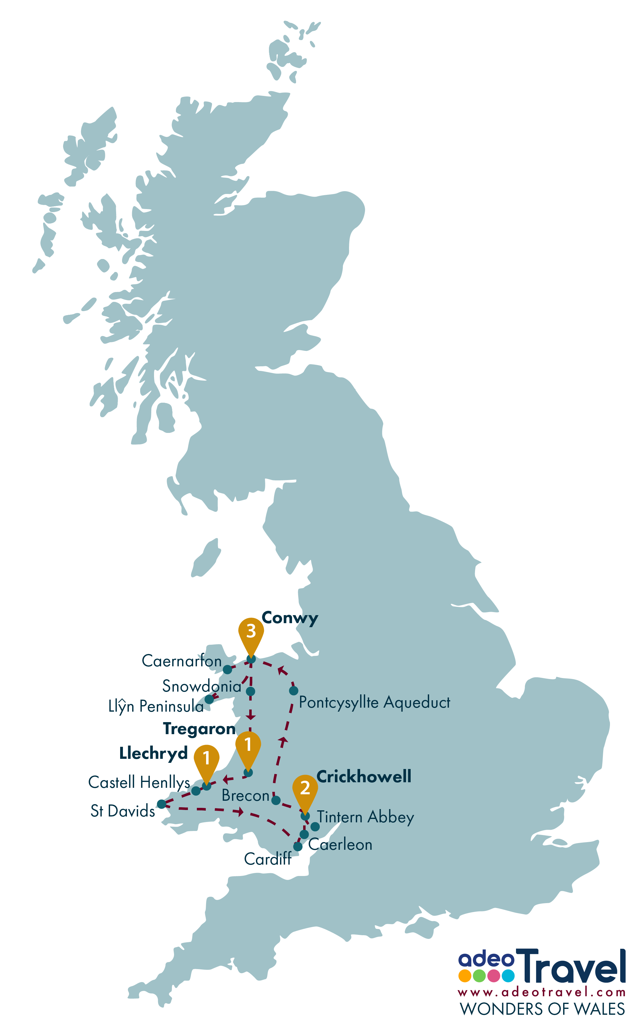 Tour Map - Wonders of Wales