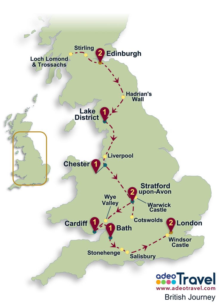 Britain Self Drive Tour Map - British Journey
