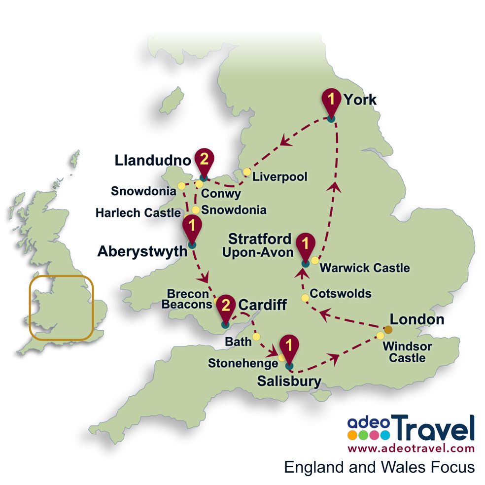 England and Wales Focus Map - Britain Self Drive Tour