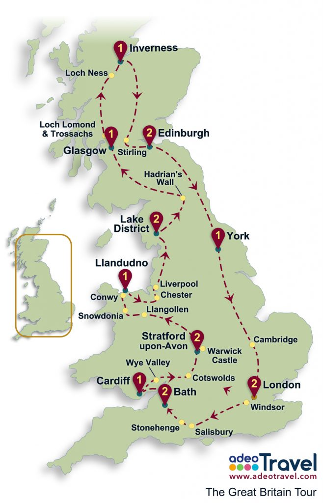 The Great Britain Tour Map - Self Drive Tour of Britain