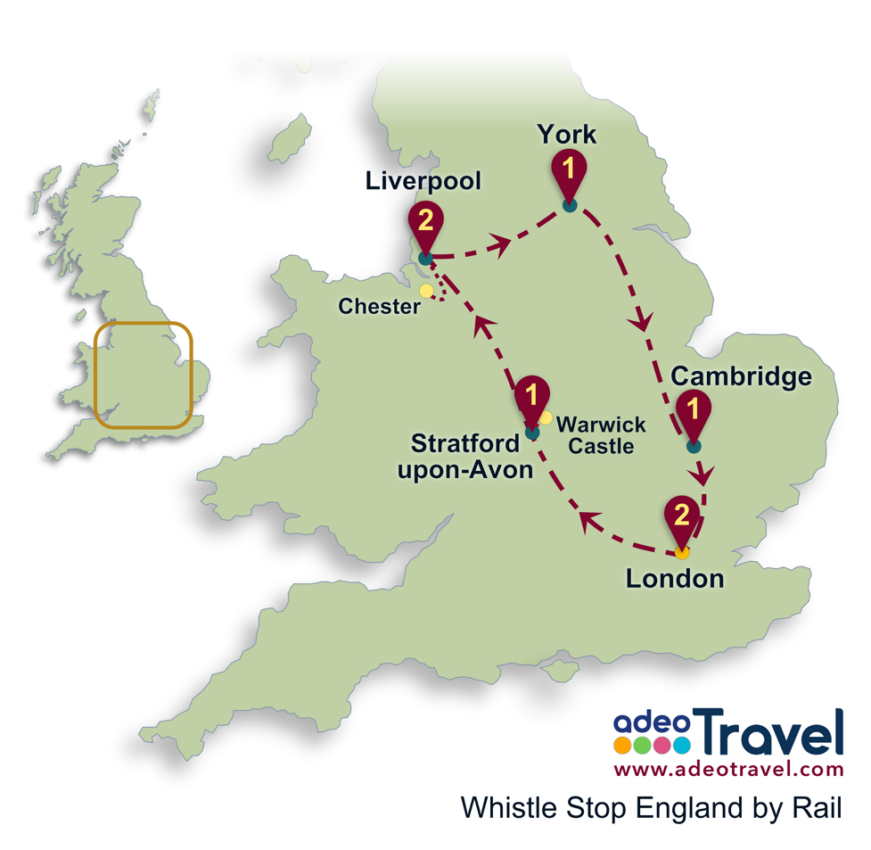 Stratford England Map.Whistle Stop England By Rail Adeo Travel Tailor Made Tours Of