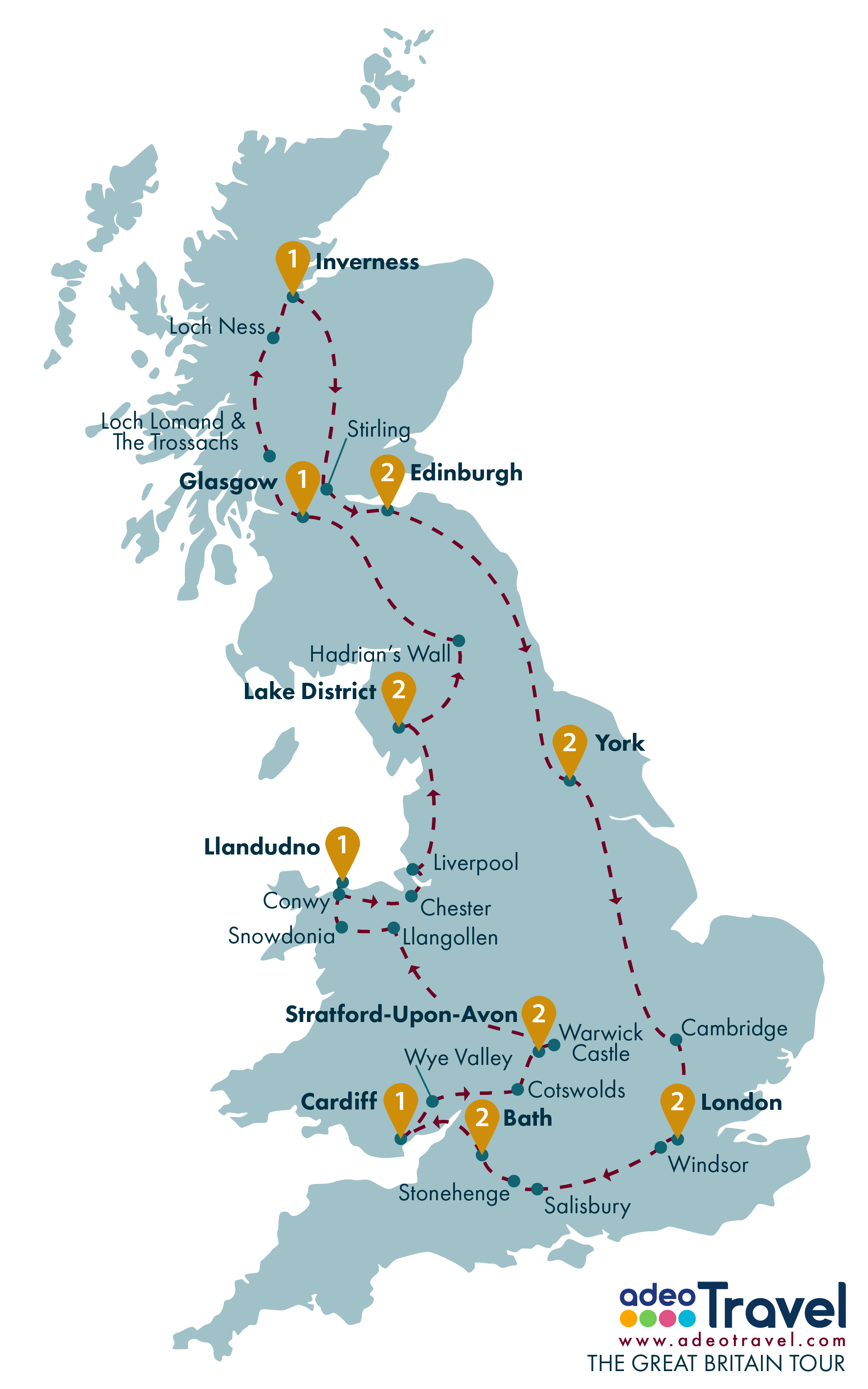 Tour Map - The Great Britain Tour