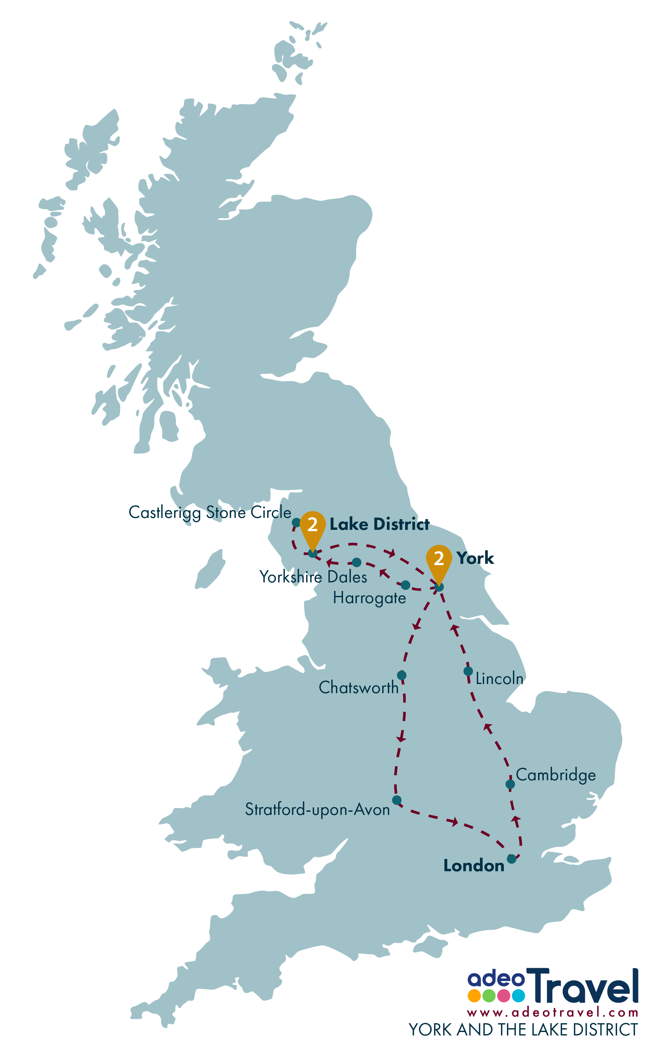 Tour Map - York and the Lake District
