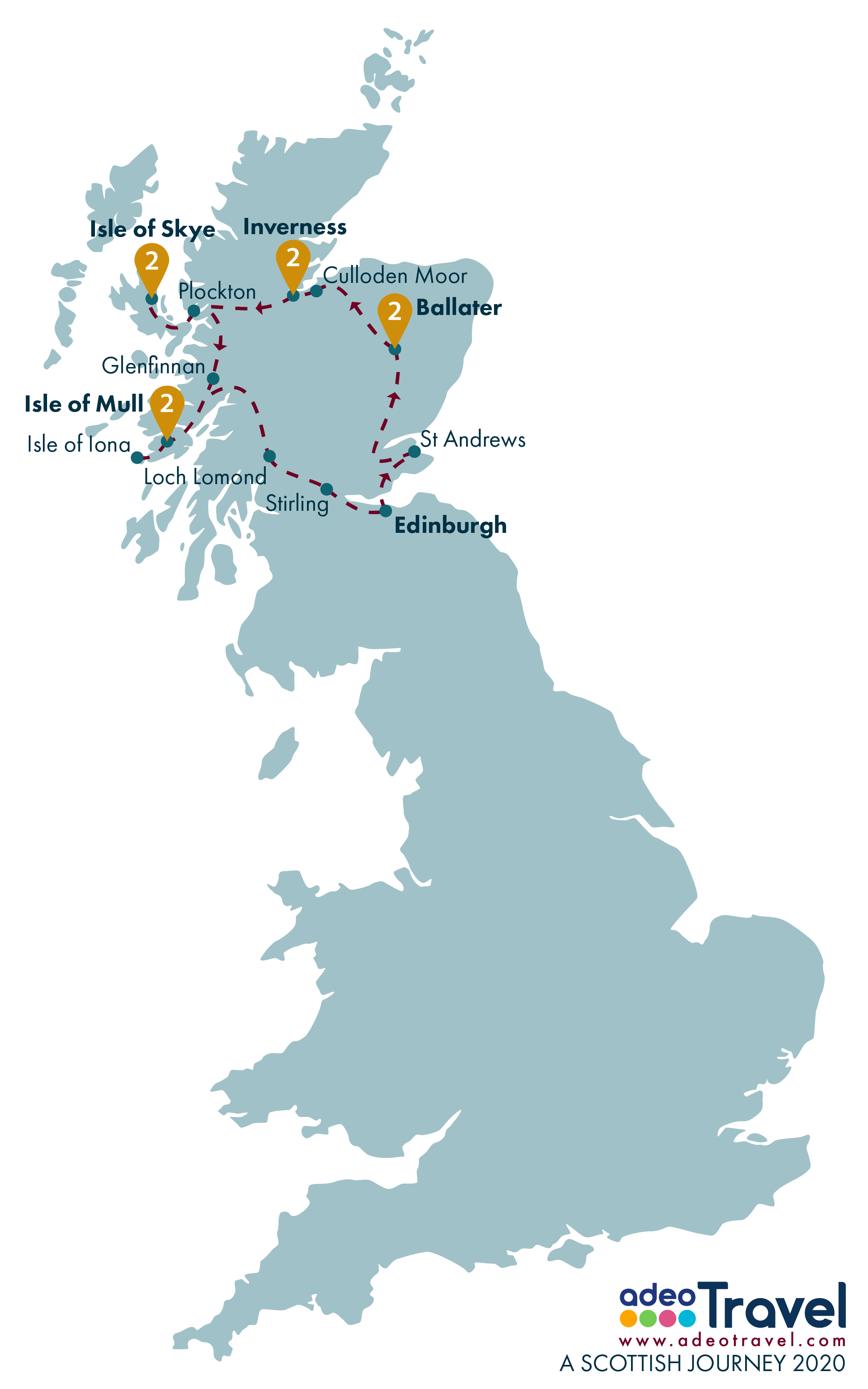 Tour Map - A Scottish Journey 2020