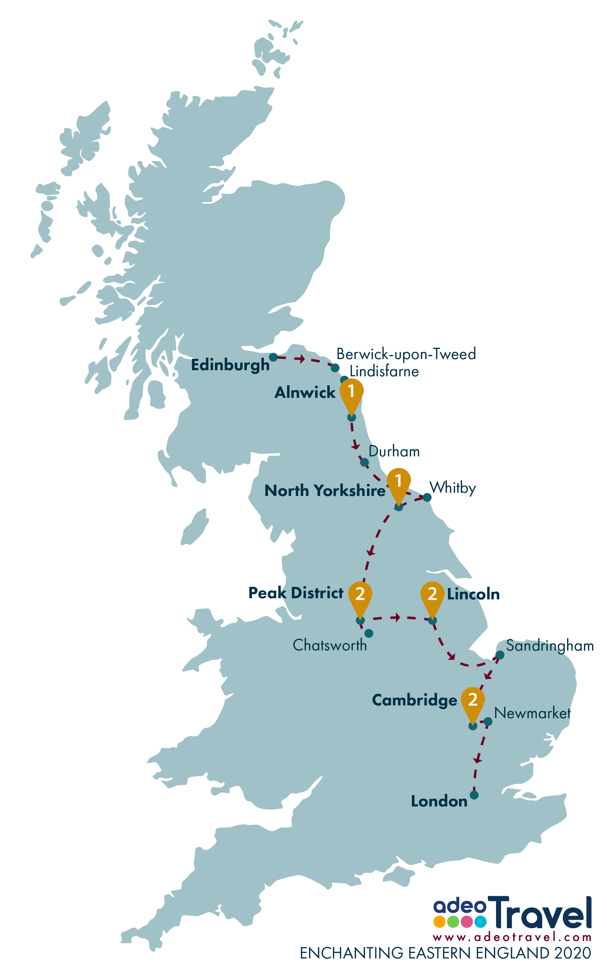 Tour Map - Enchanting Eastern England