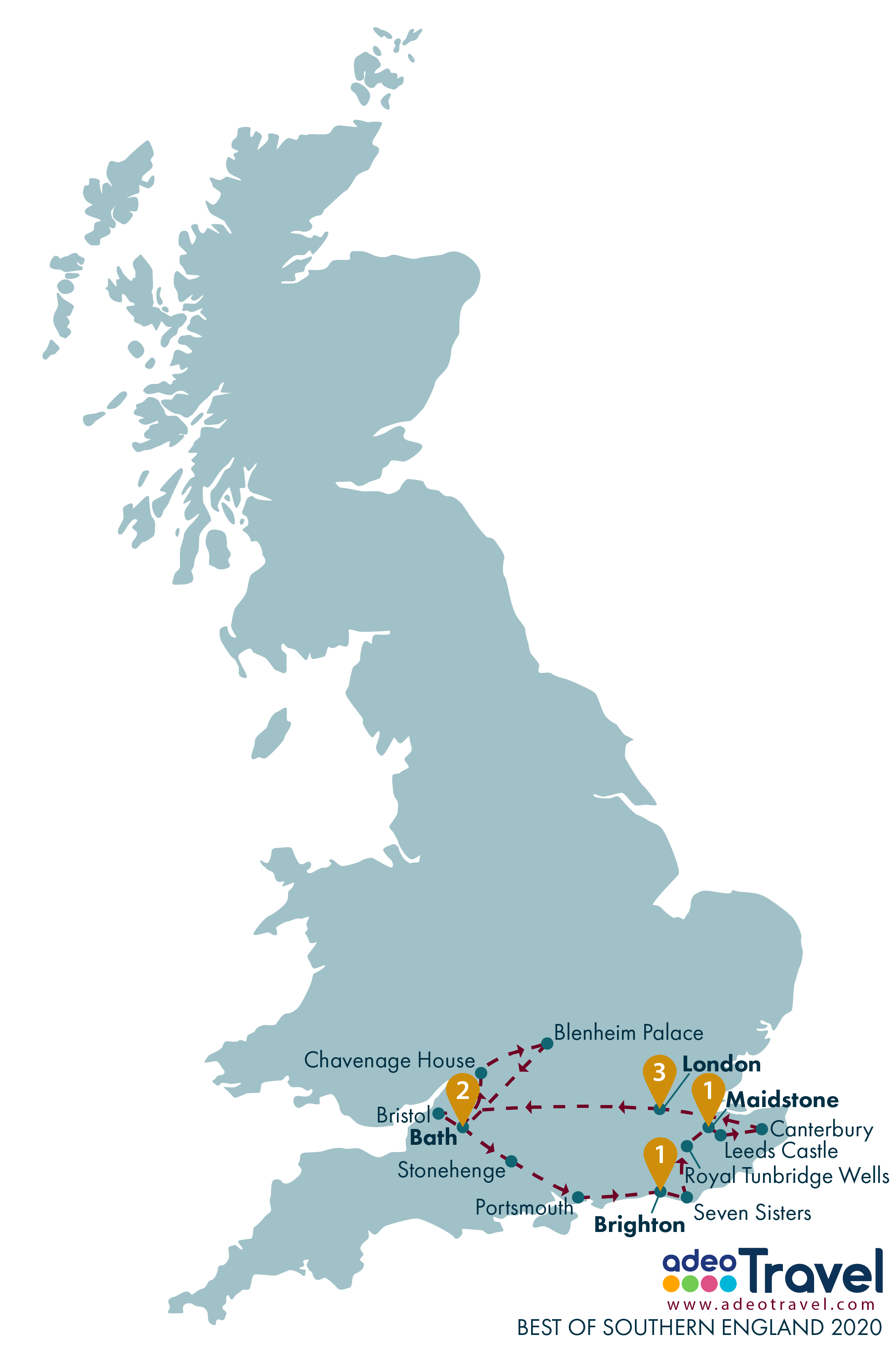 Map - Best of Southern England 2020