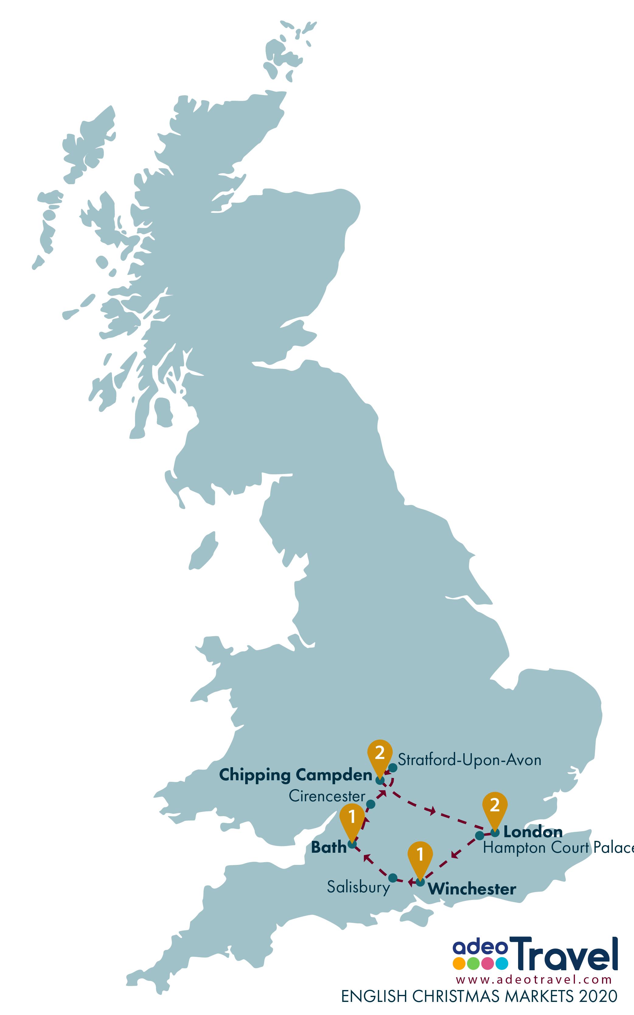 Map - English Christmas Markets 2020