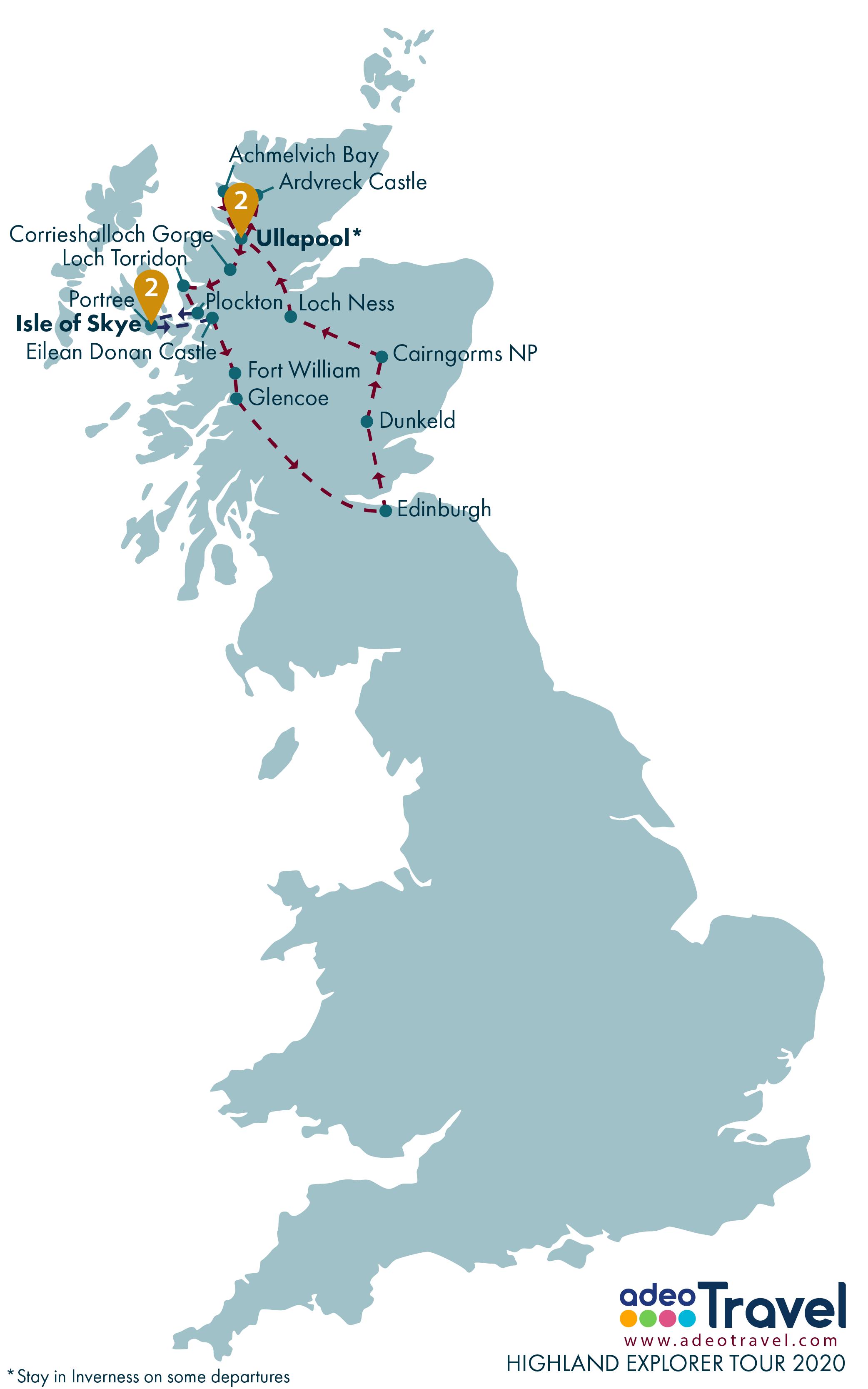 Map - Highland Explorer Tour 2020