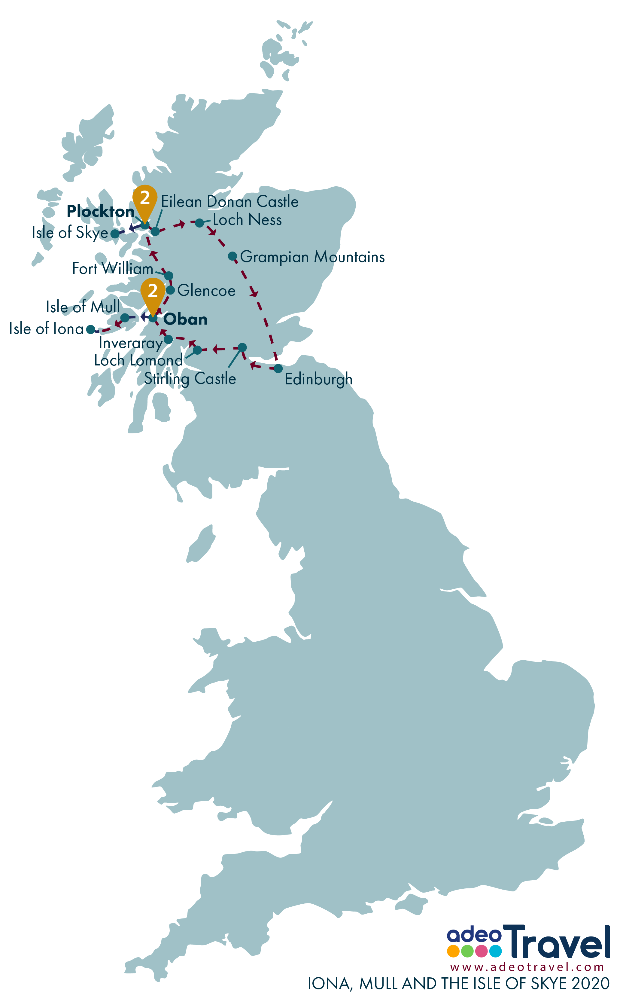 Map - Iona, Mull and Skye 2020