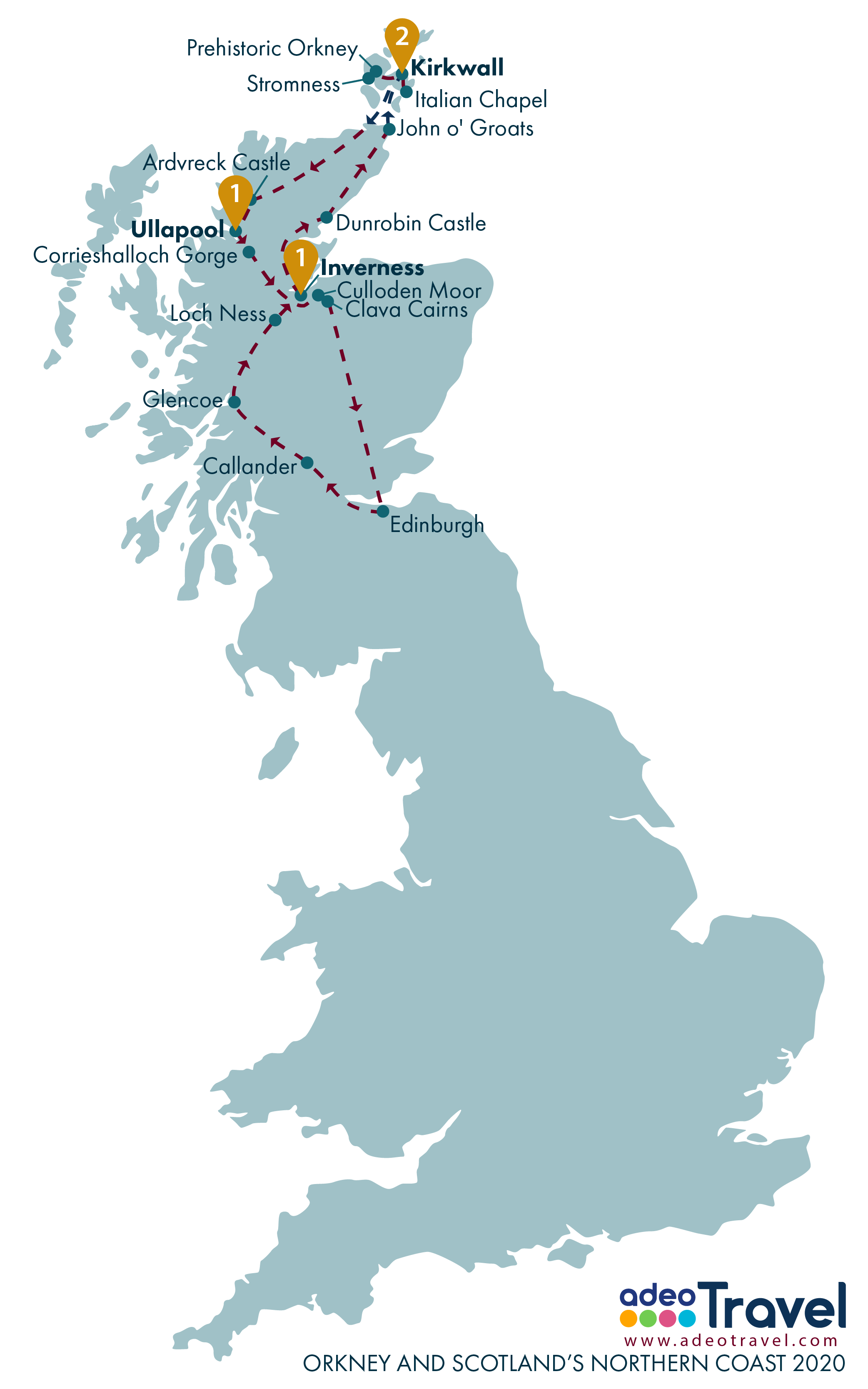 Map - Orkney and Scotland's Northern Coast 2020
