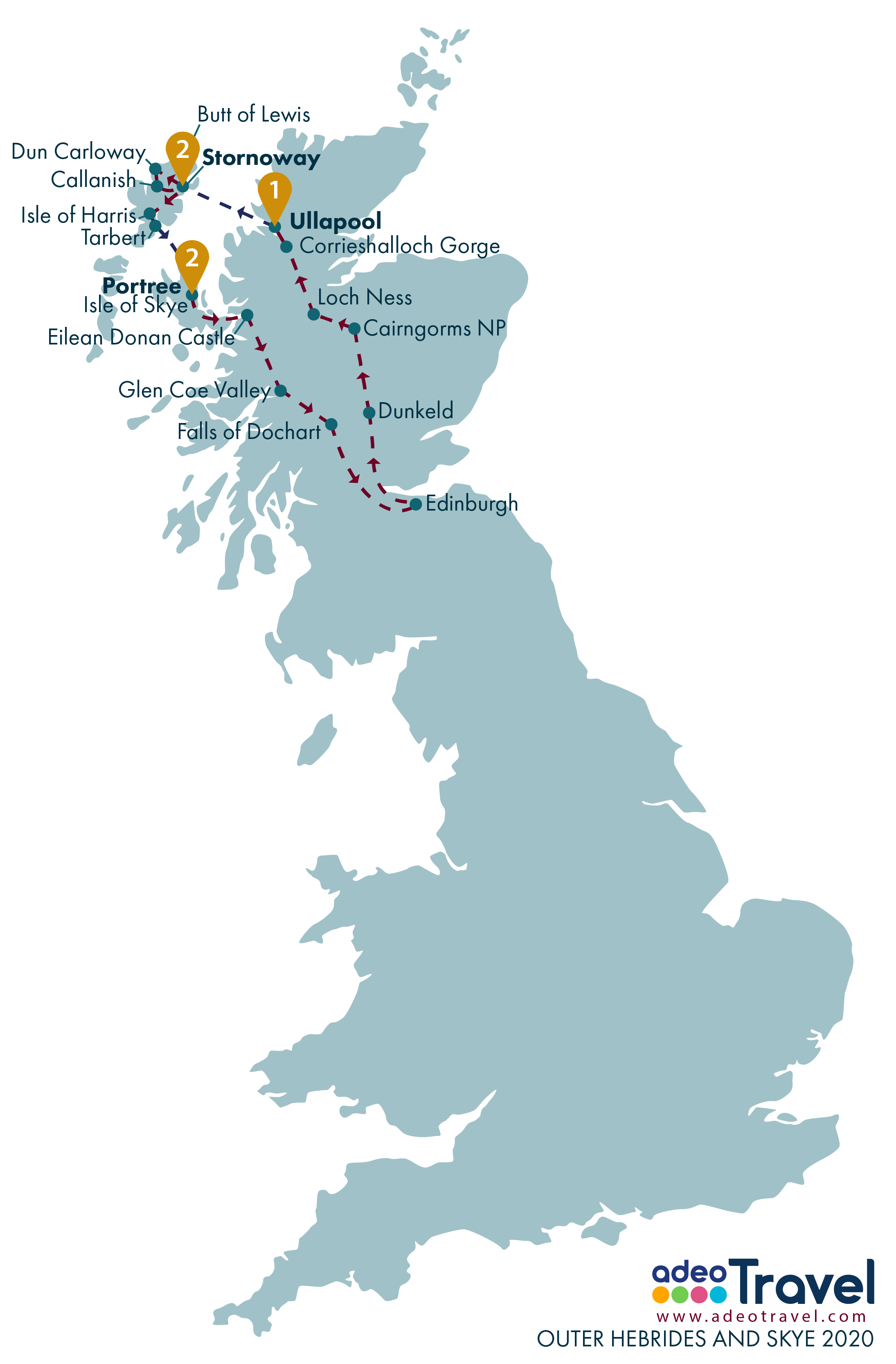Map - Outer Hebrides and Skye 2020
