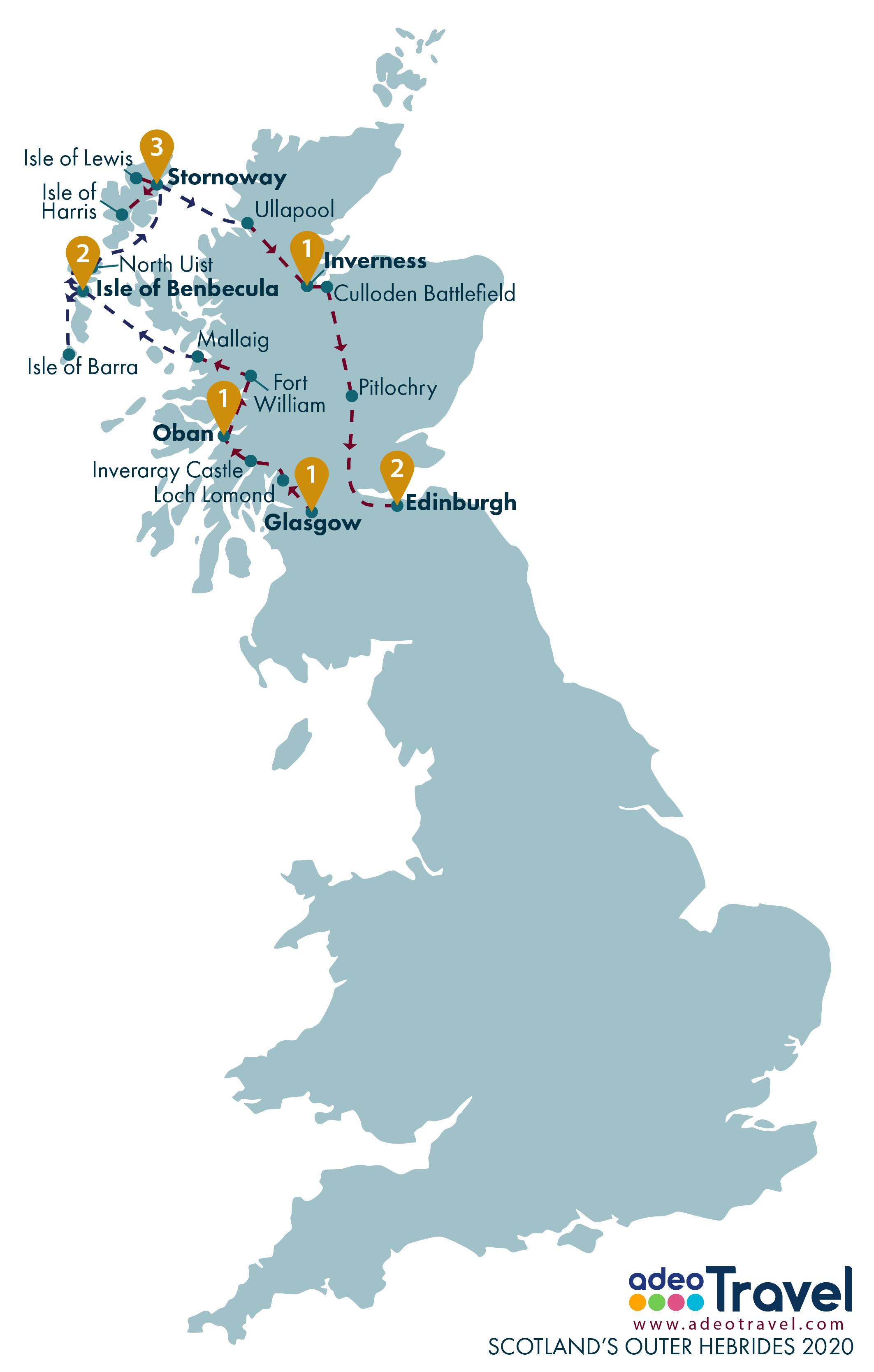 Map - Scotland's Outer Hebrides 2020