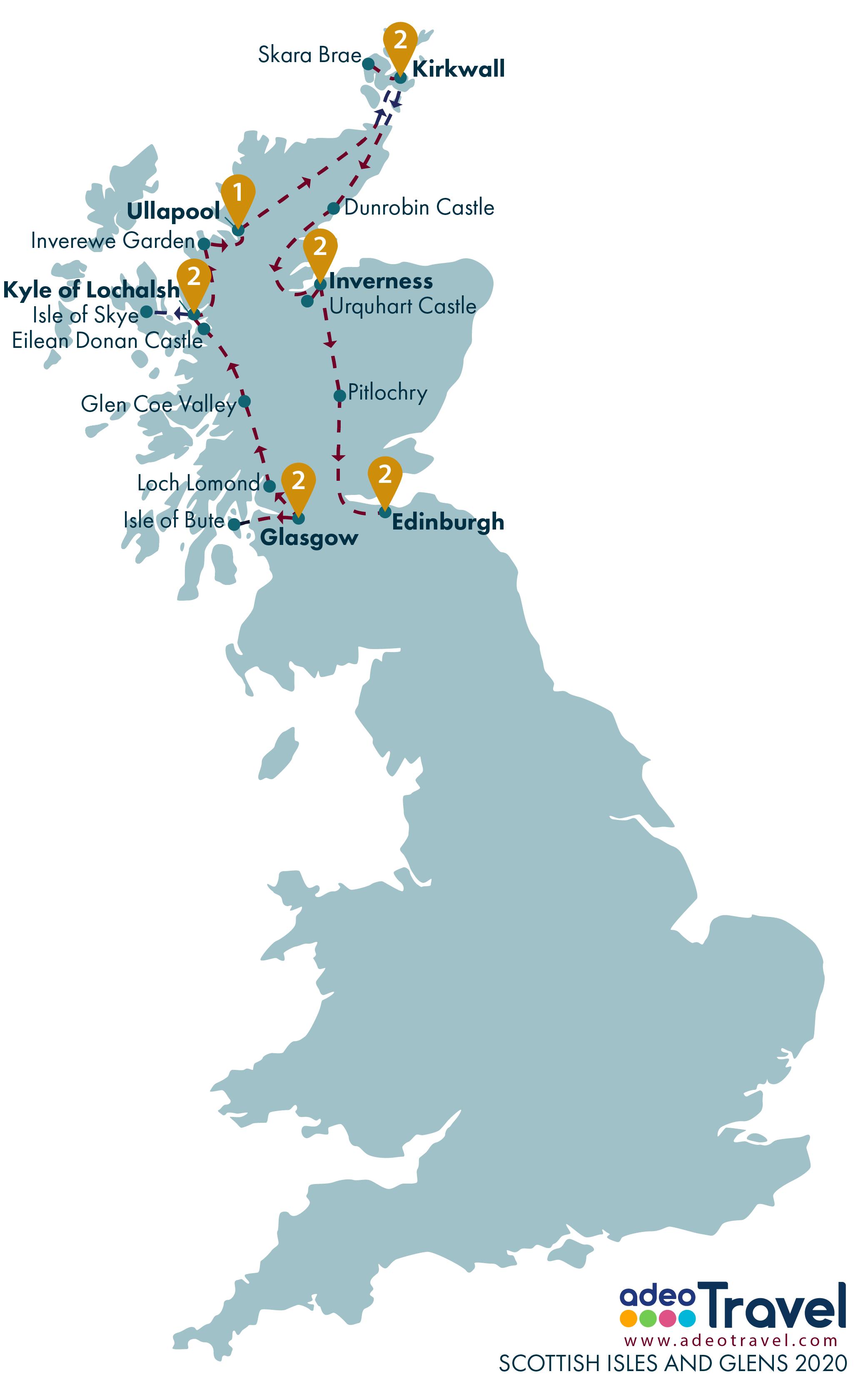 Map - Scottish Isles and Glens 2020