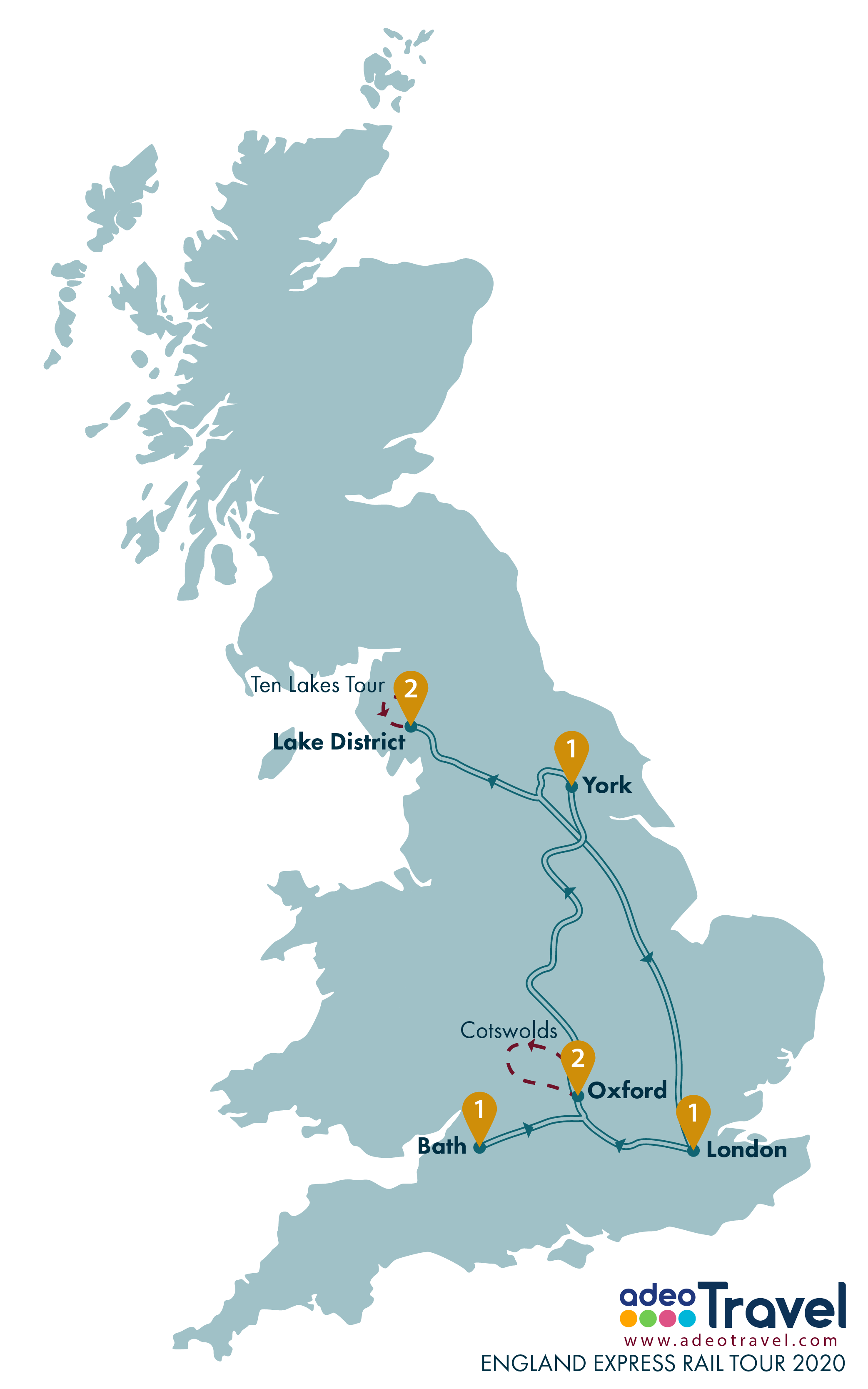 Map - England Express Rail Tour 2020 + day tours