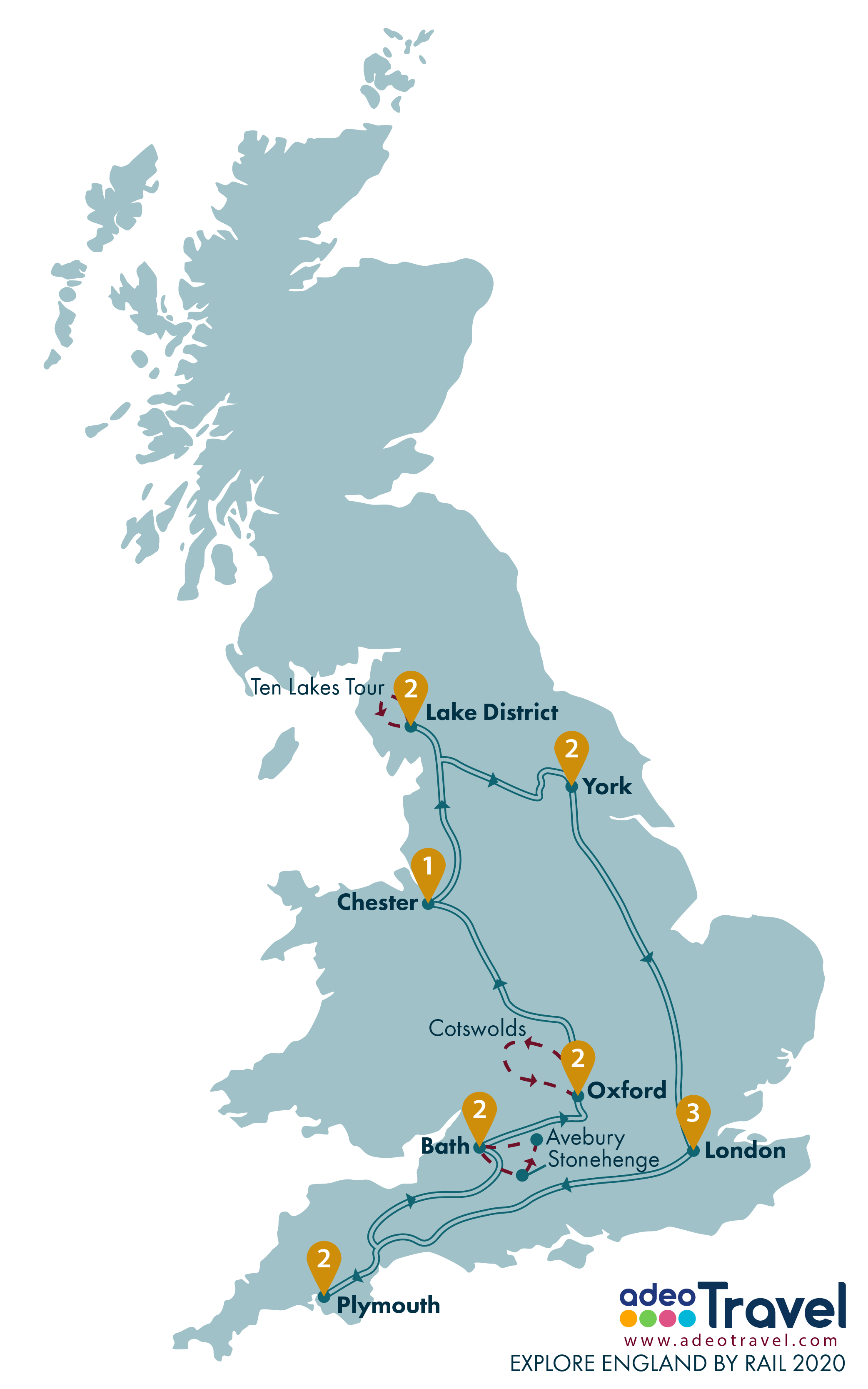 Map - Explore England by Rail 2020 + day tours