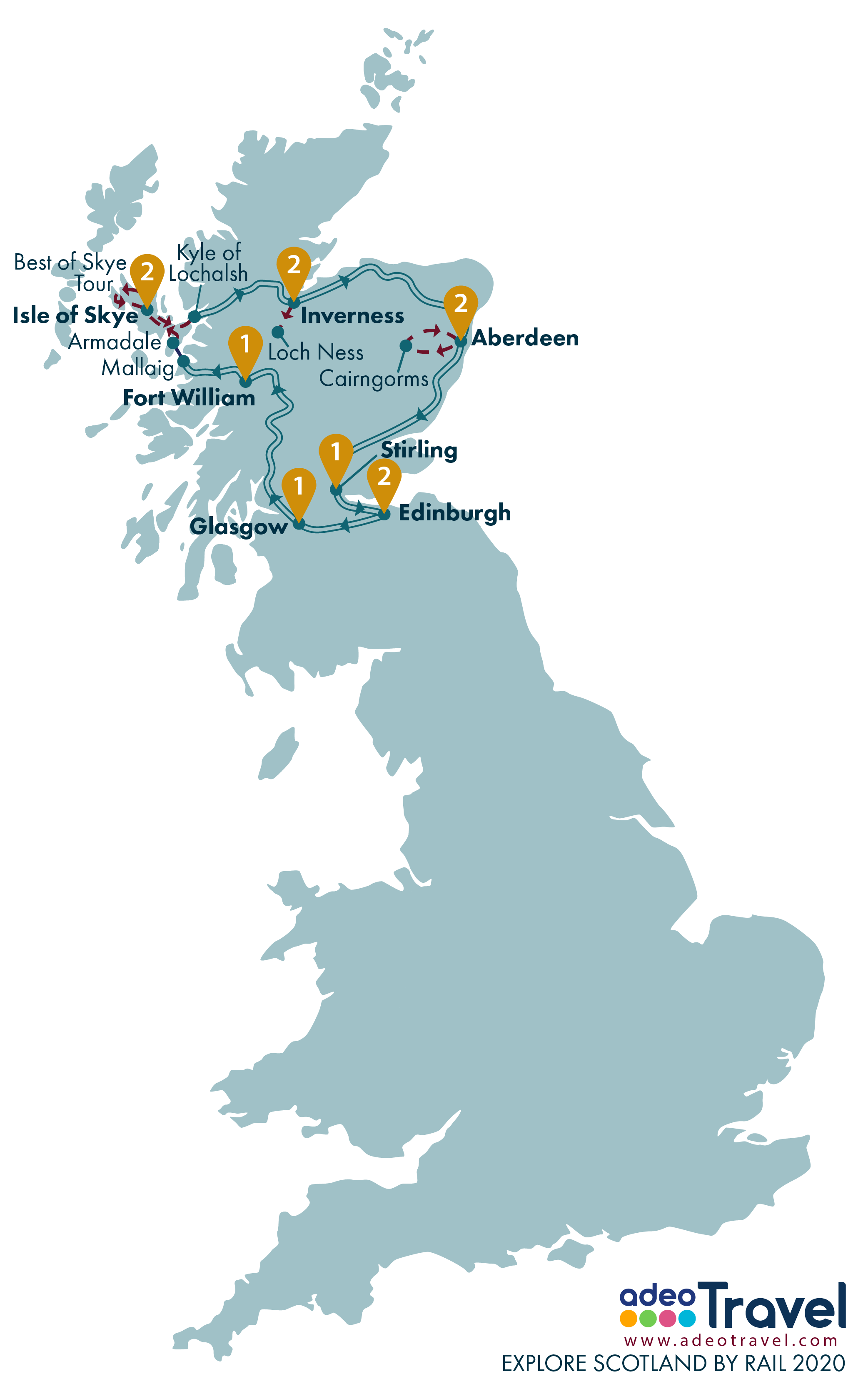 Map - Explore Scotland by Rail 2020 + day tours
