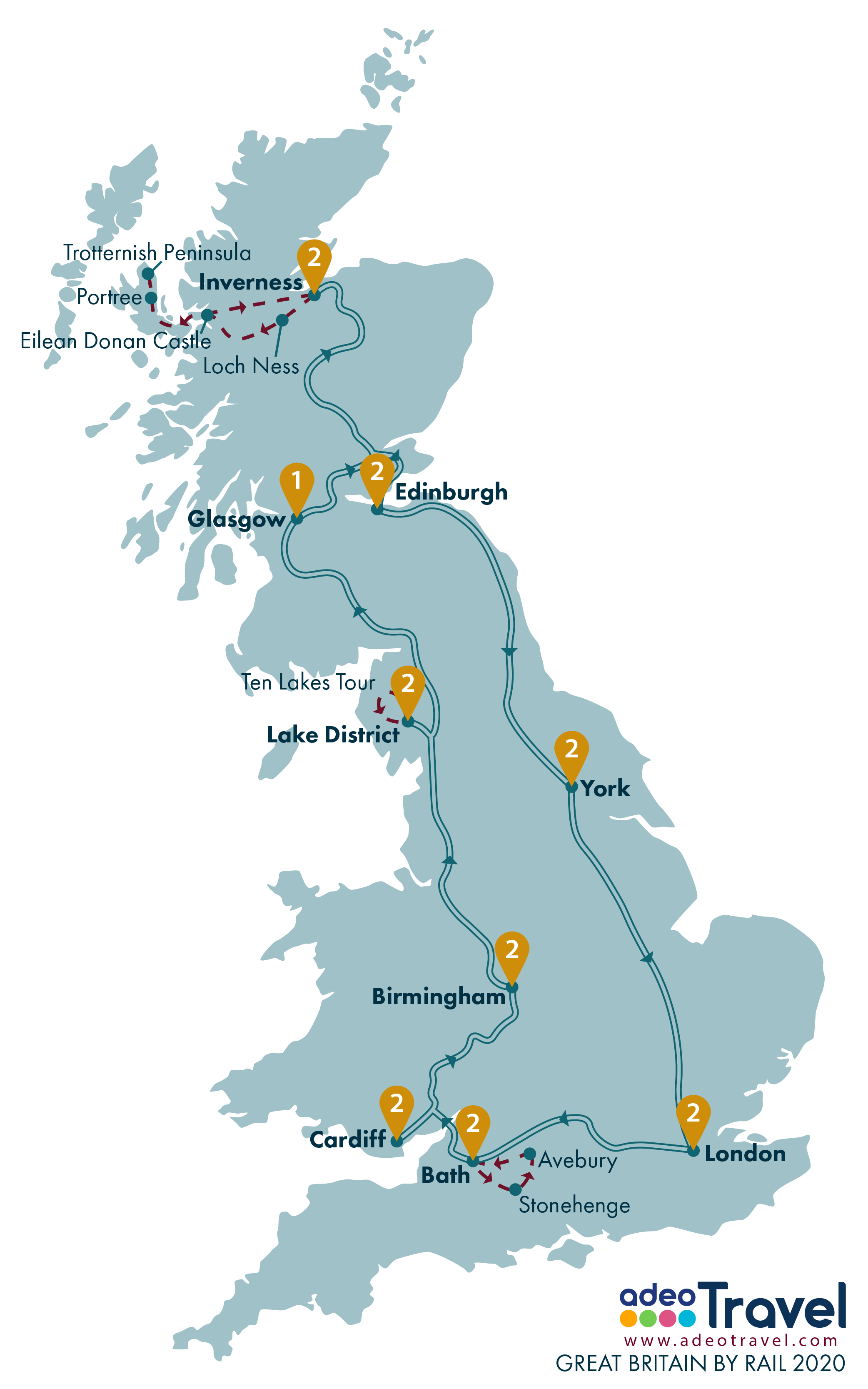Map - Great Britain by Rail 2020 + day tours