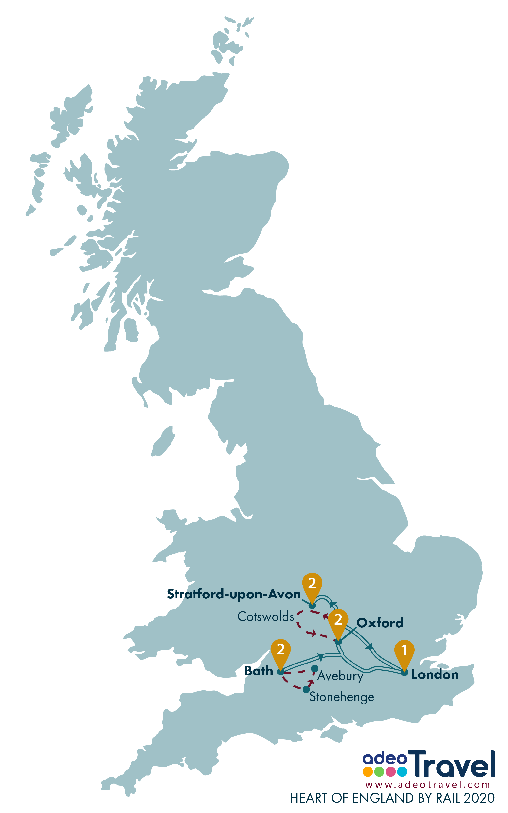 Map - Heart of England by Rail 2020 + day tours