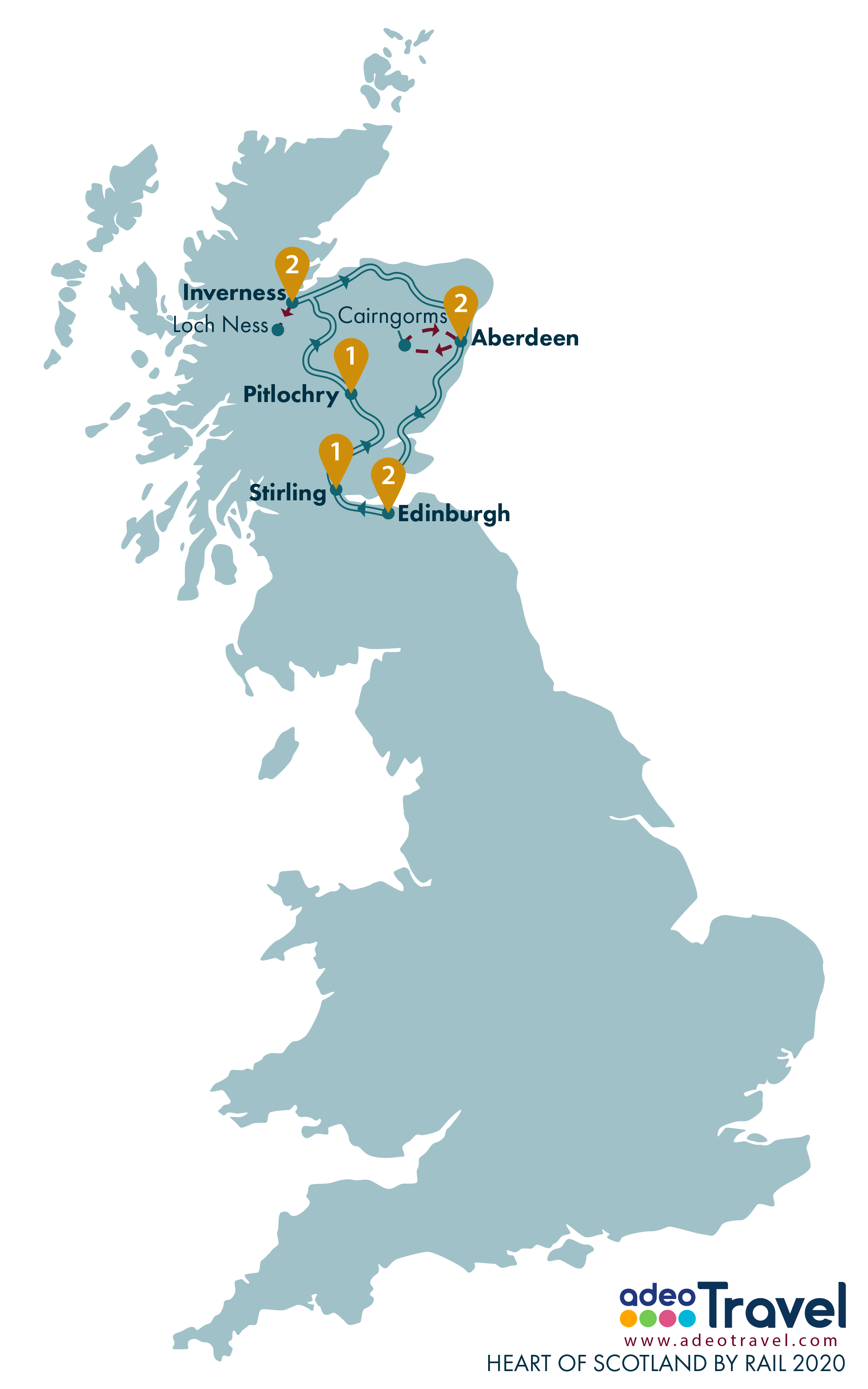 Map - Heart of Scotland by Rail 2020 + day tours