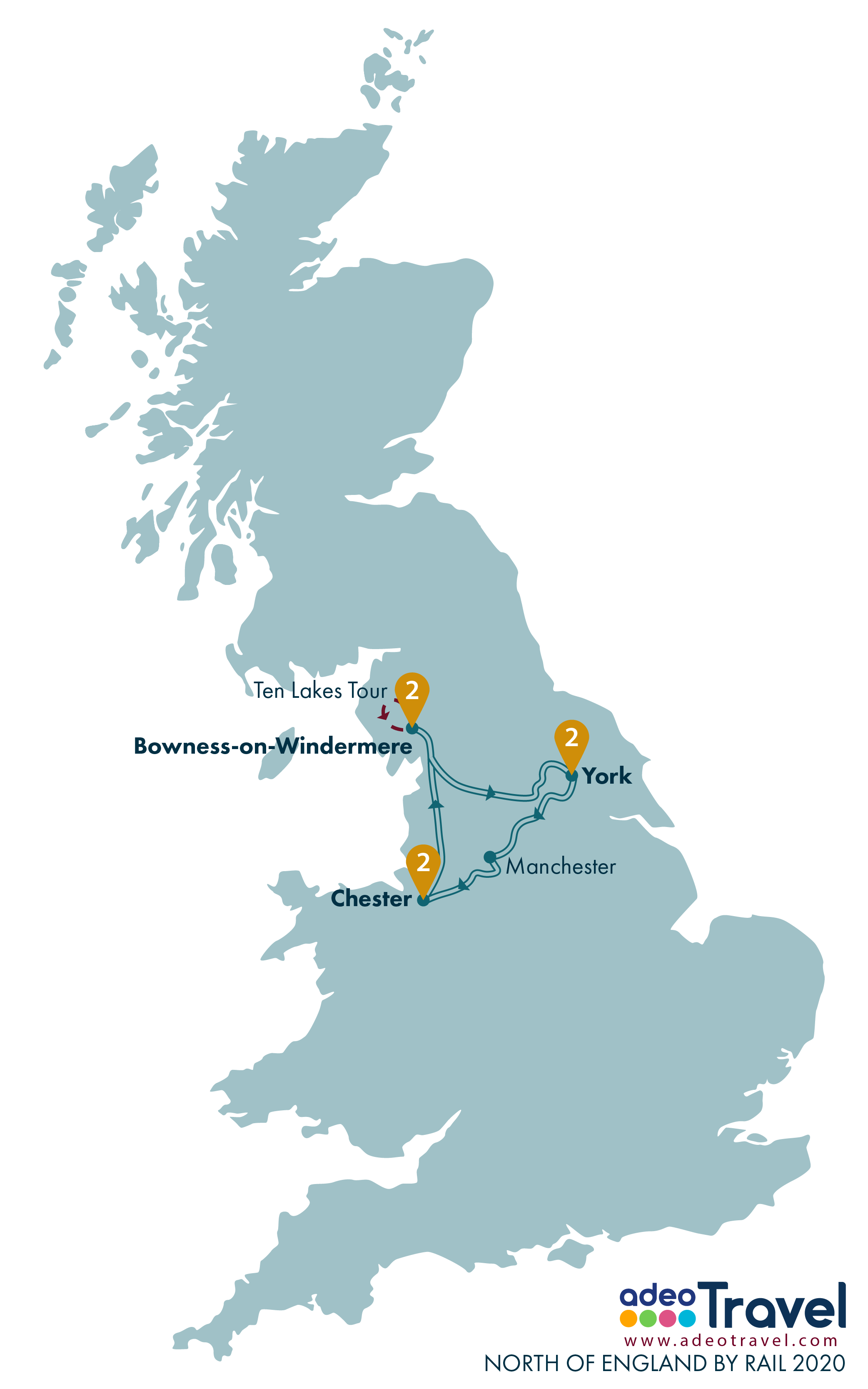 Map - North of England by Rail 2020 + day tours