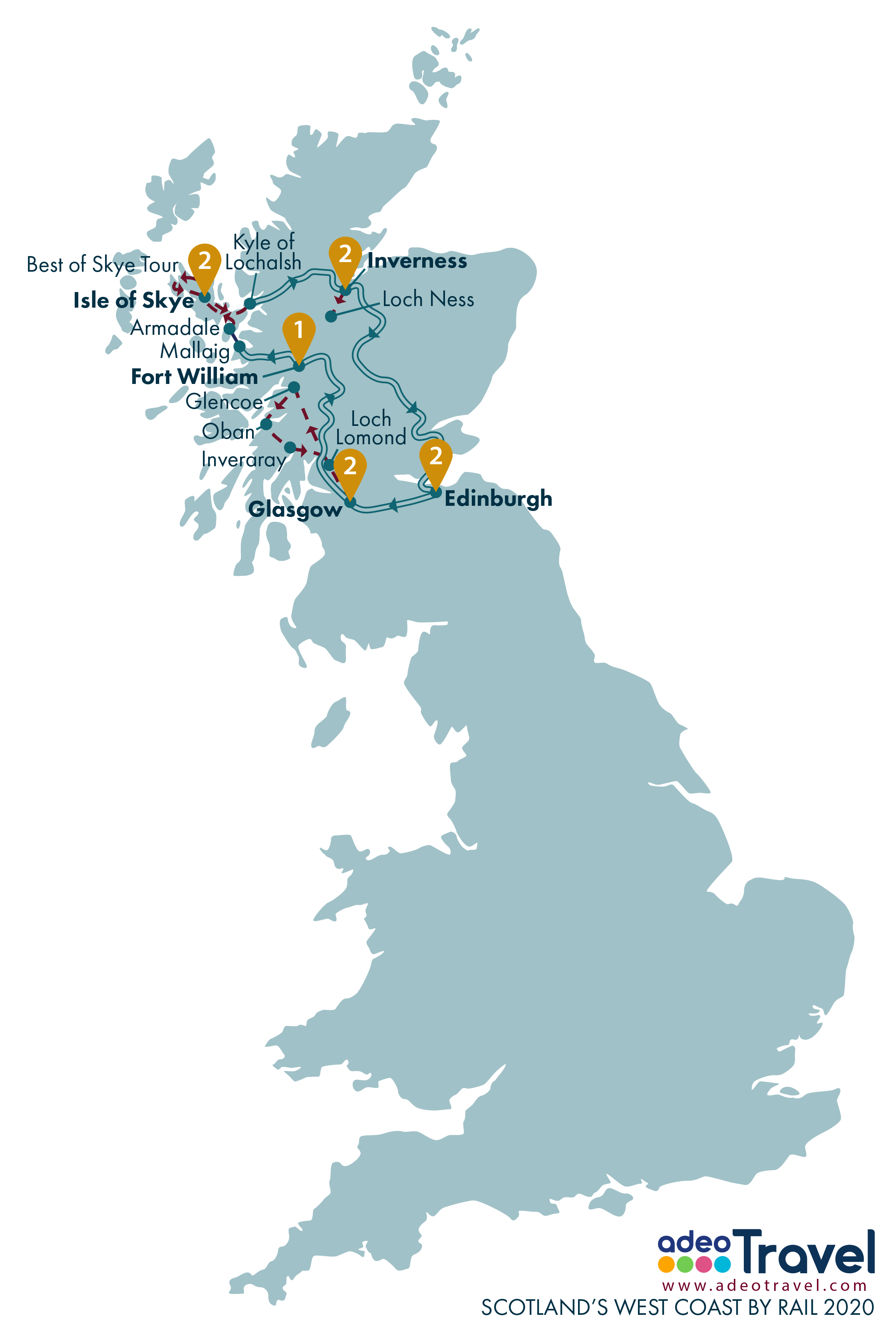 Map - Scotland's West Coast by Rail 2020 + day tours