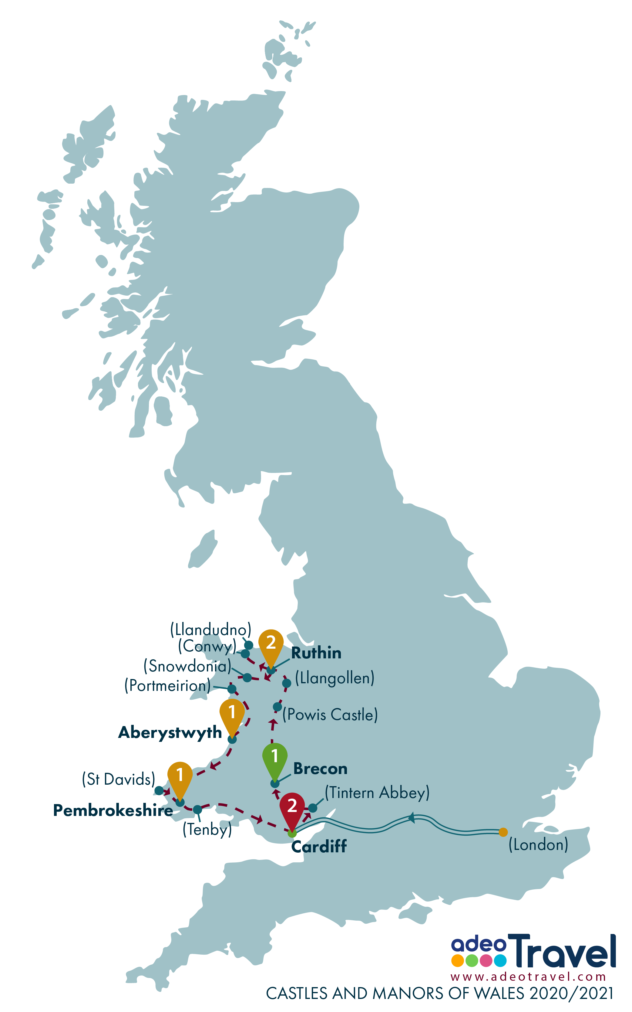 Map - Casltes and Manors of Wales 2020-2021
