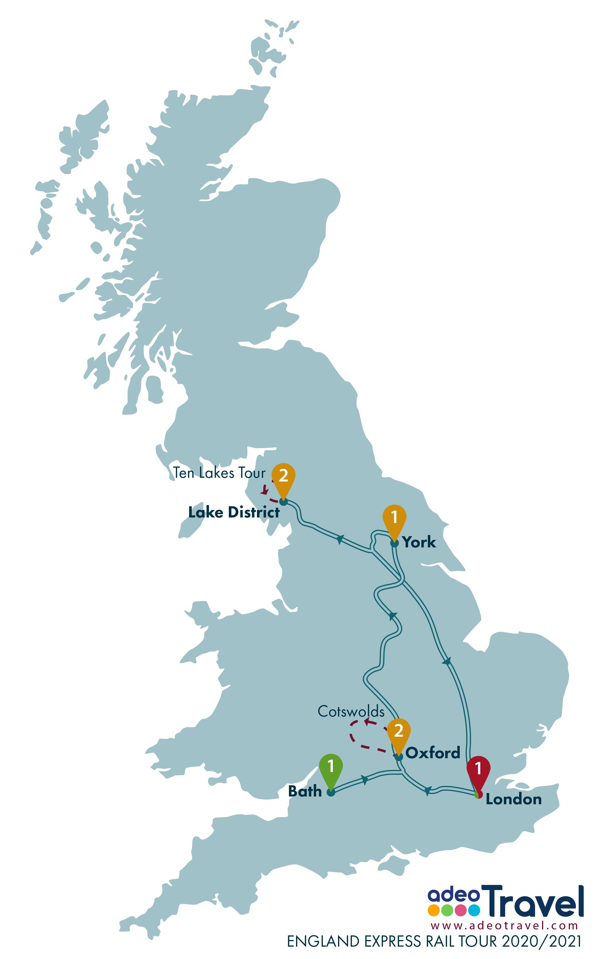 Map - England Express Rail Tour 2020 2021 + day tours