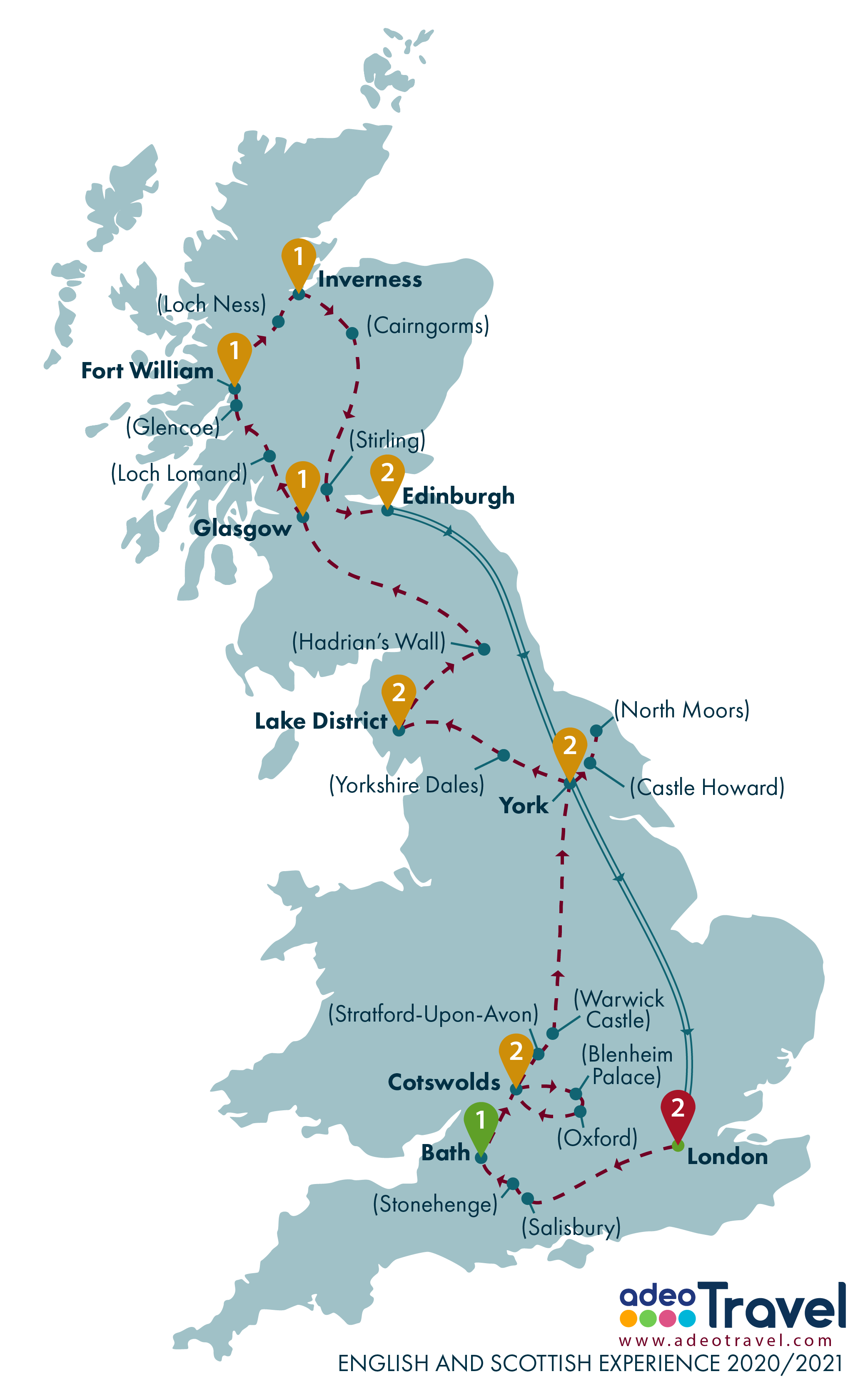 Map - English and Scottish Experience 2020 2021