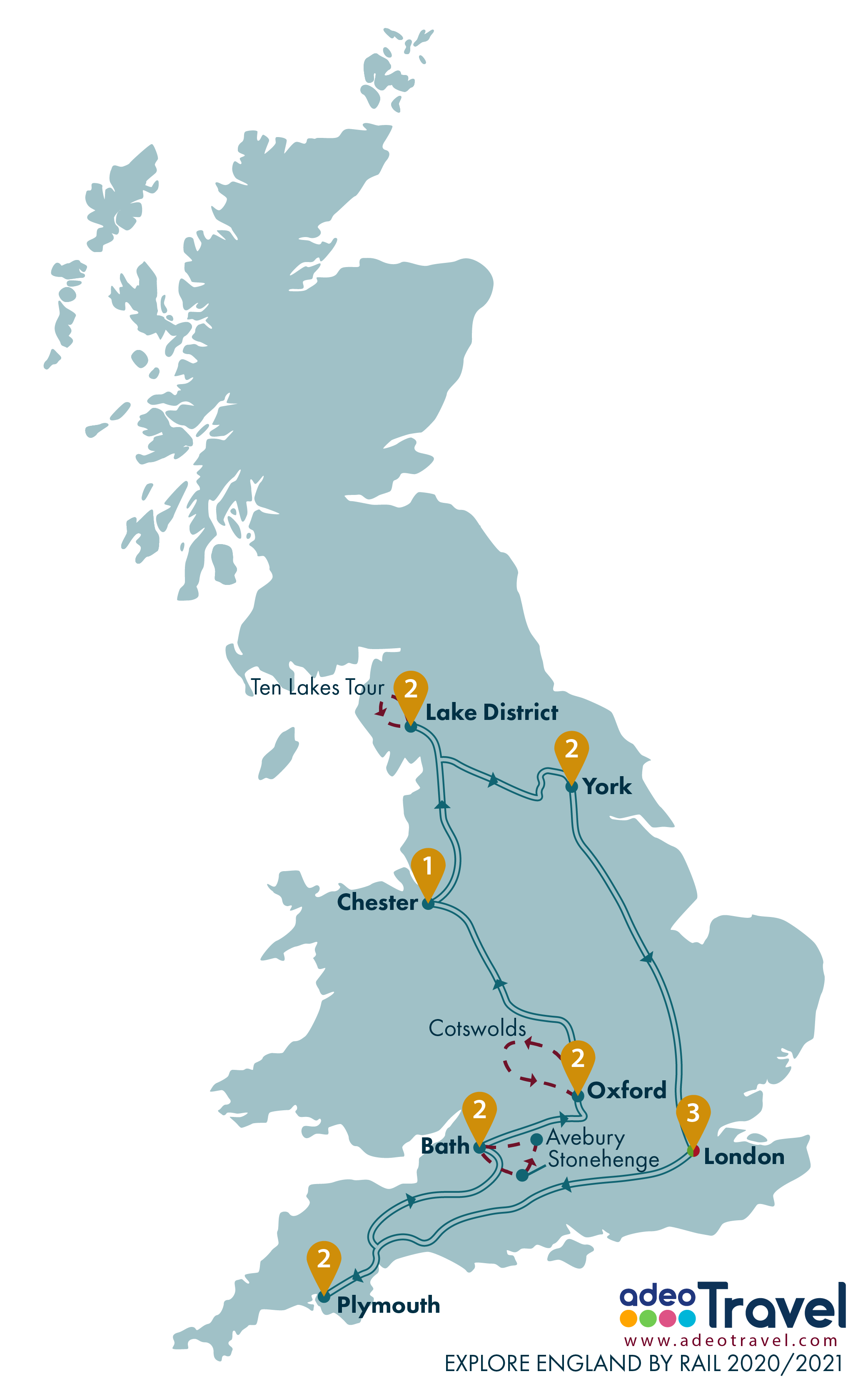 Map - Explore England by Rail 2020 2021 + day tours