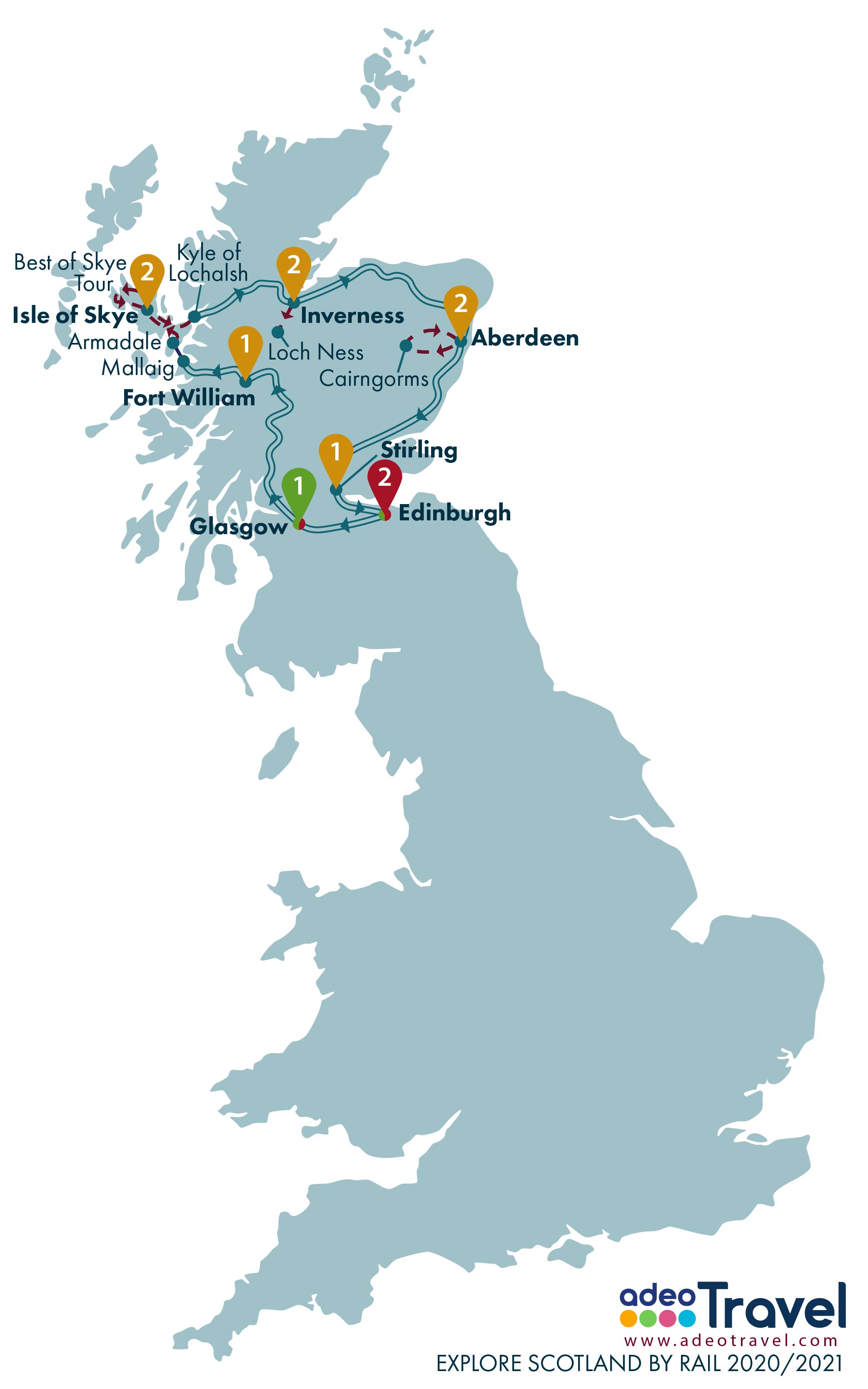 Map - Explore Scotland by Rail 2020 2021 + day tours
