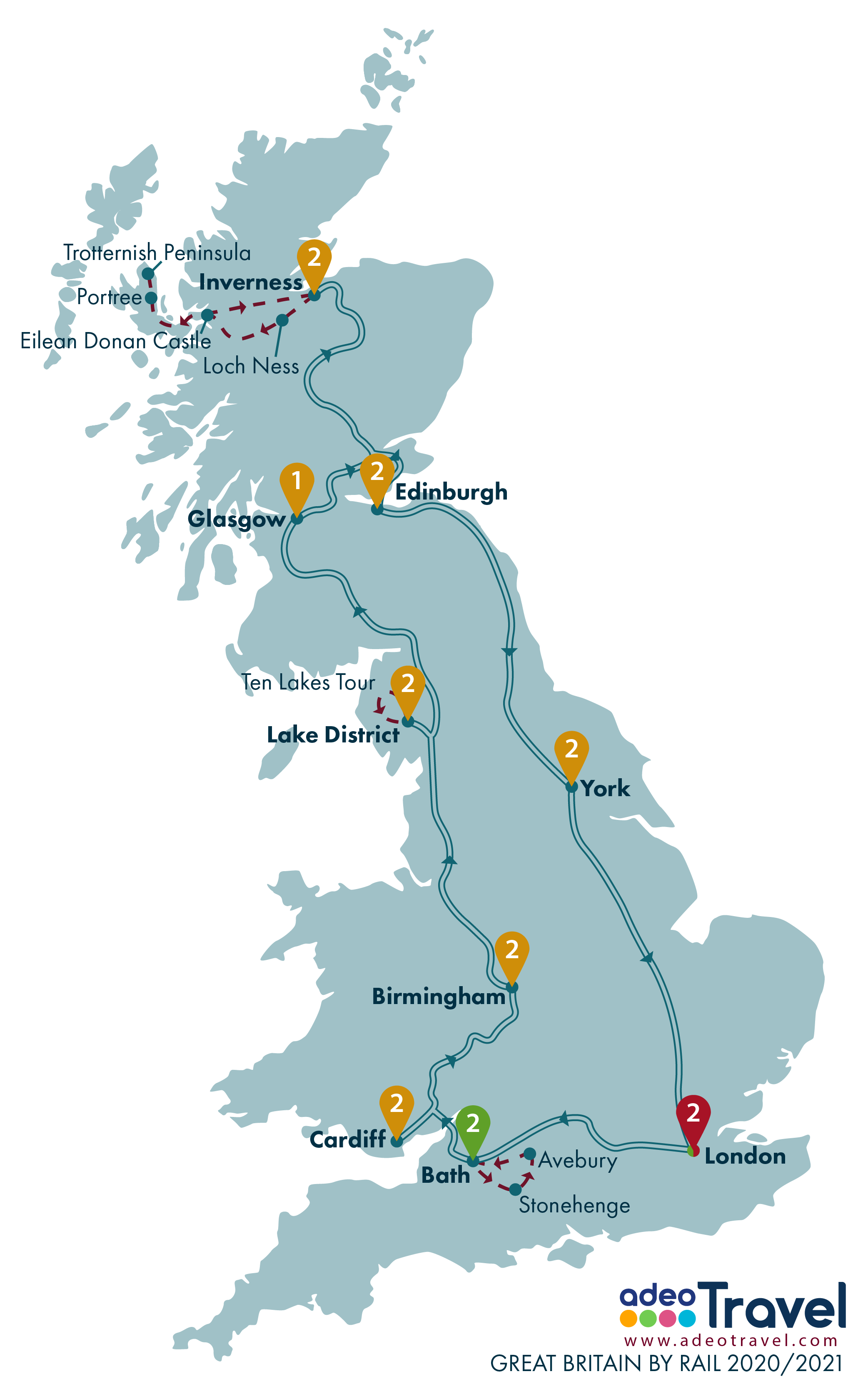 Map - Great Britain by Rail 2020 2021 + day tours